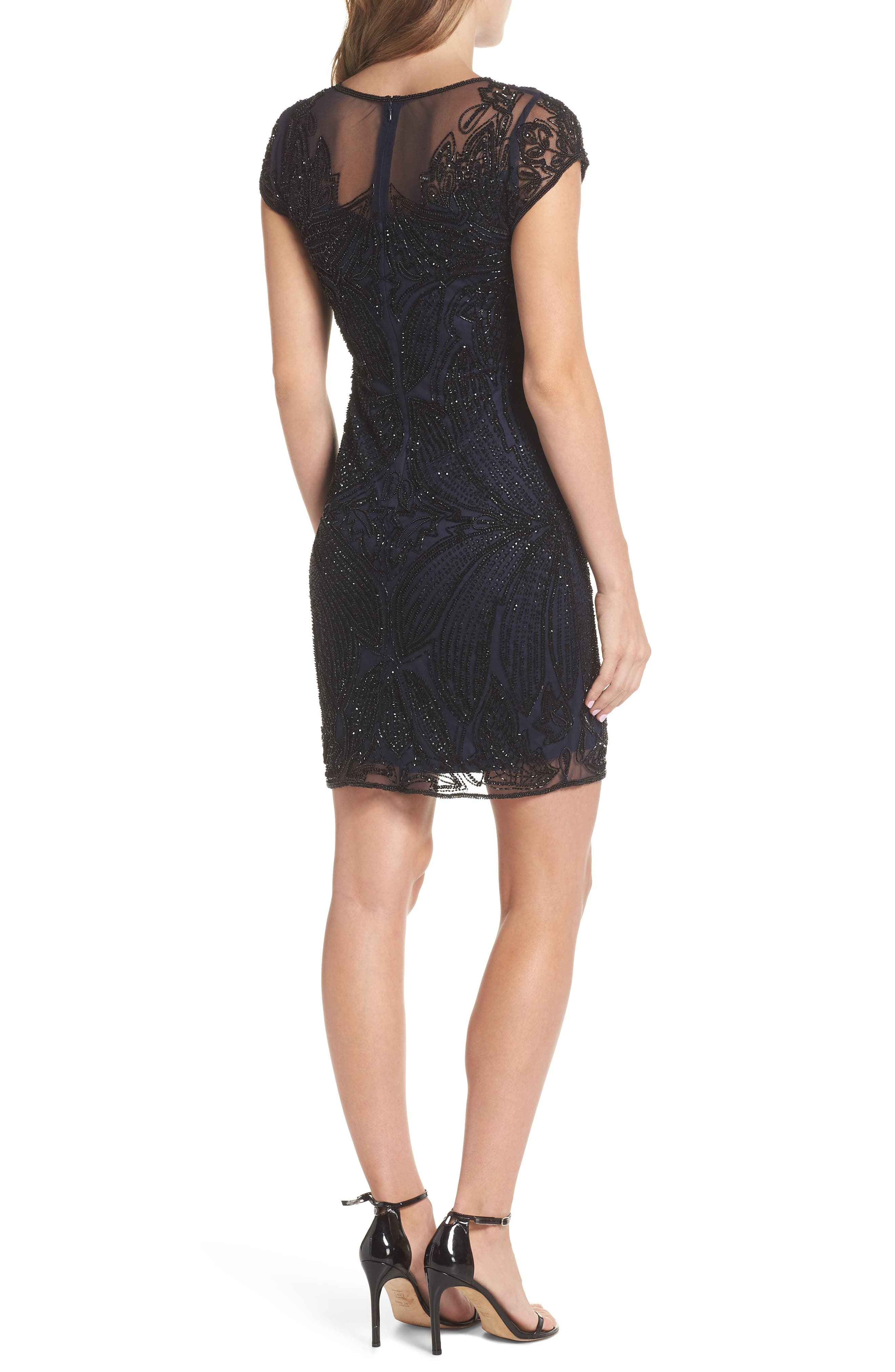 Beaded Illusion Yoke Sheath Dress,                             Alternate thumbnail 2, color,                             NAVY BLACK