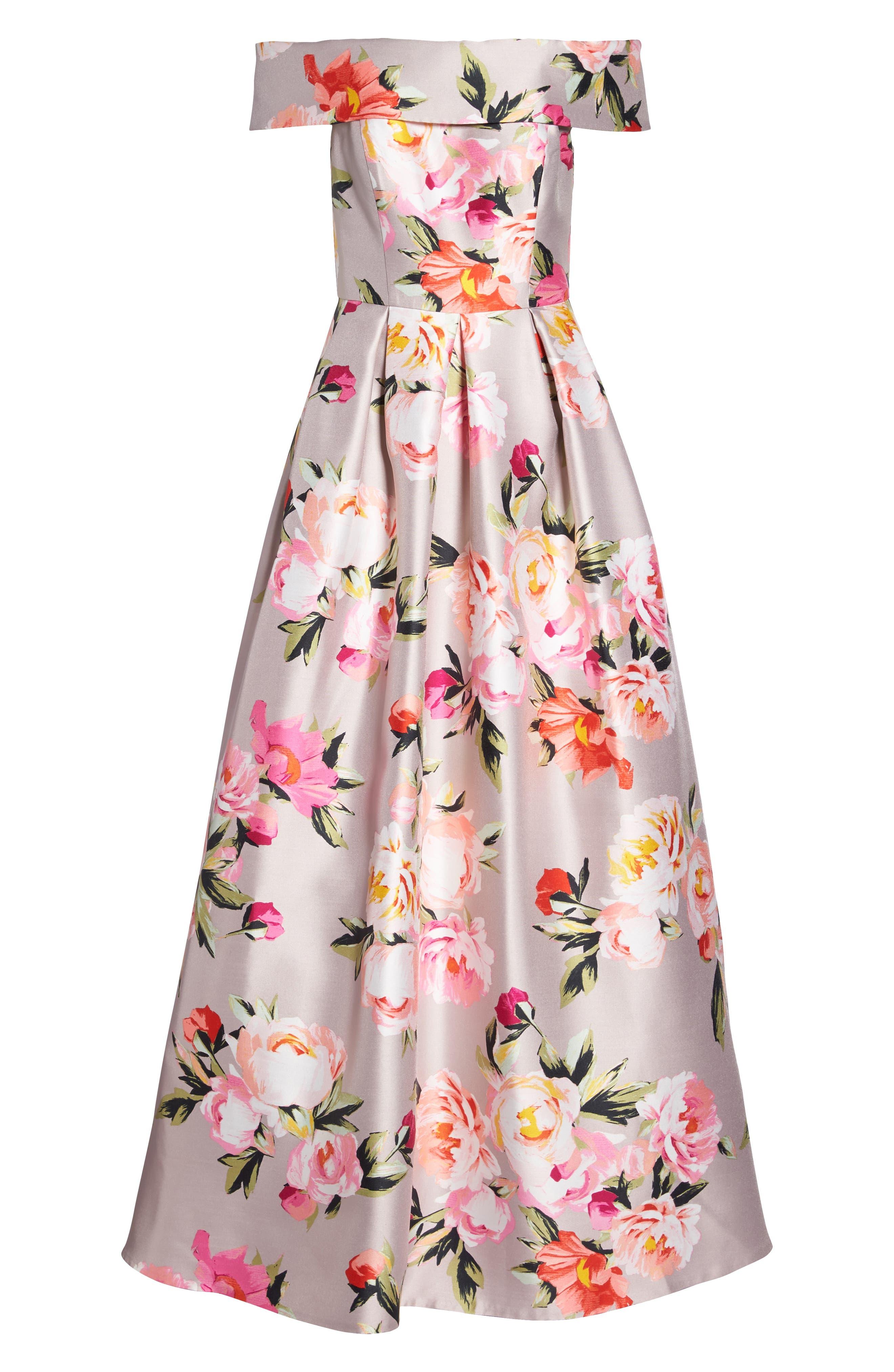 Floral Off the Shoulder Mikado Gown,                             Alternate thumbnail 8, color,                             254