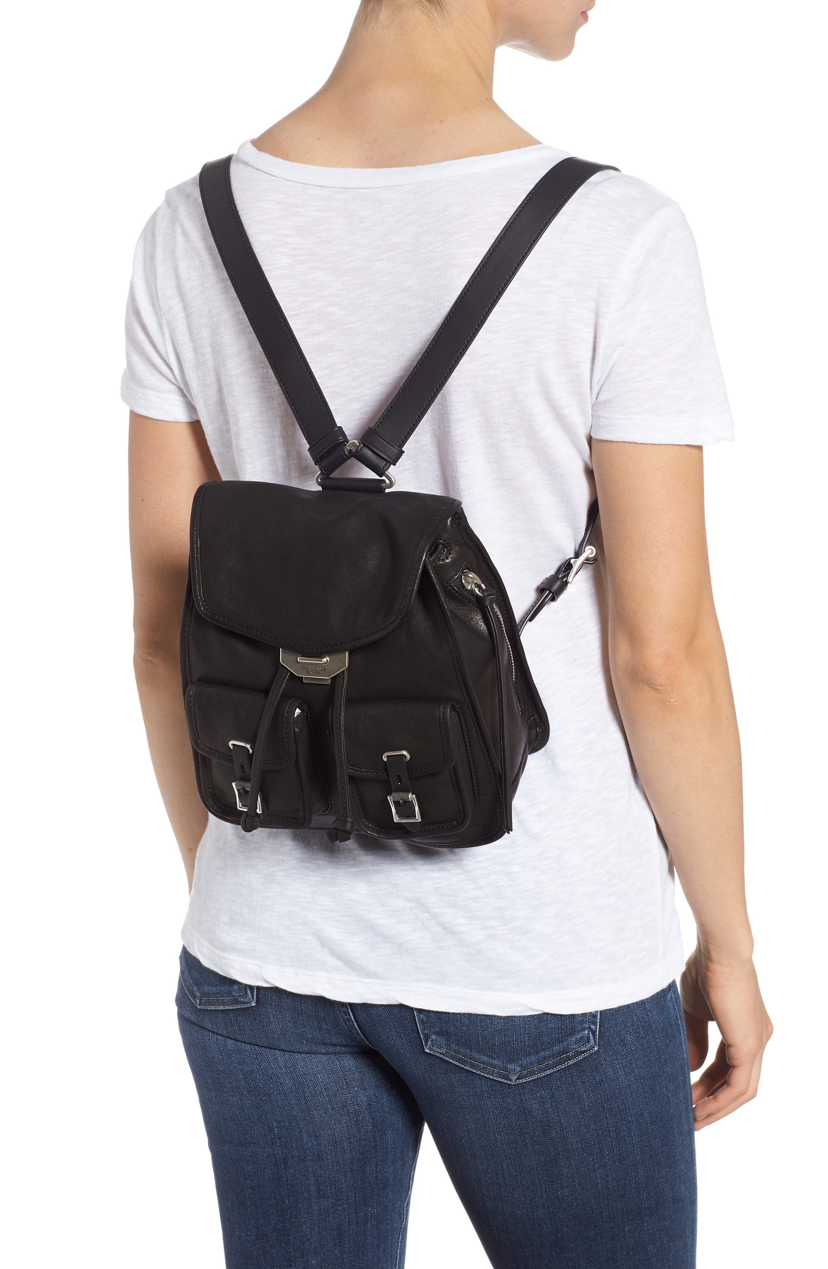 Small Leather Field Backpack,                             Alternate thumbnail 2, color,                             BLACK