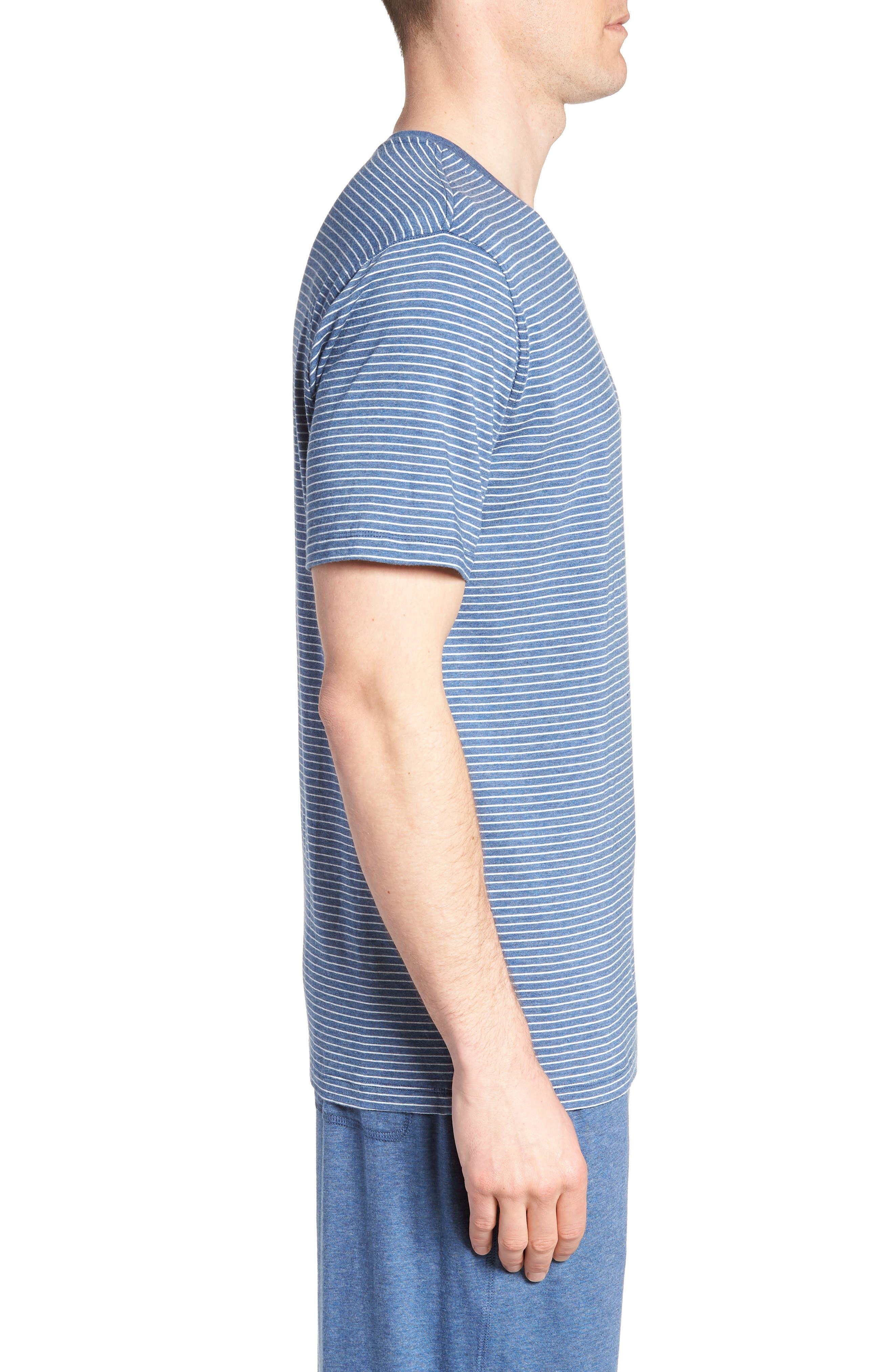 Stripe Pima Cotton & Modal V-Neck T-Shirt,                             Alternate thumbnail 3, color,                             479