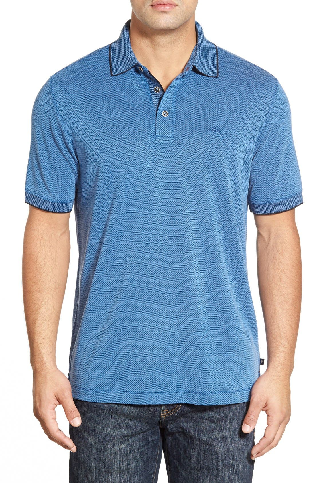 Ocean View Short Sleeve Jacquard Polo,                             Main thumbnail 7, color,