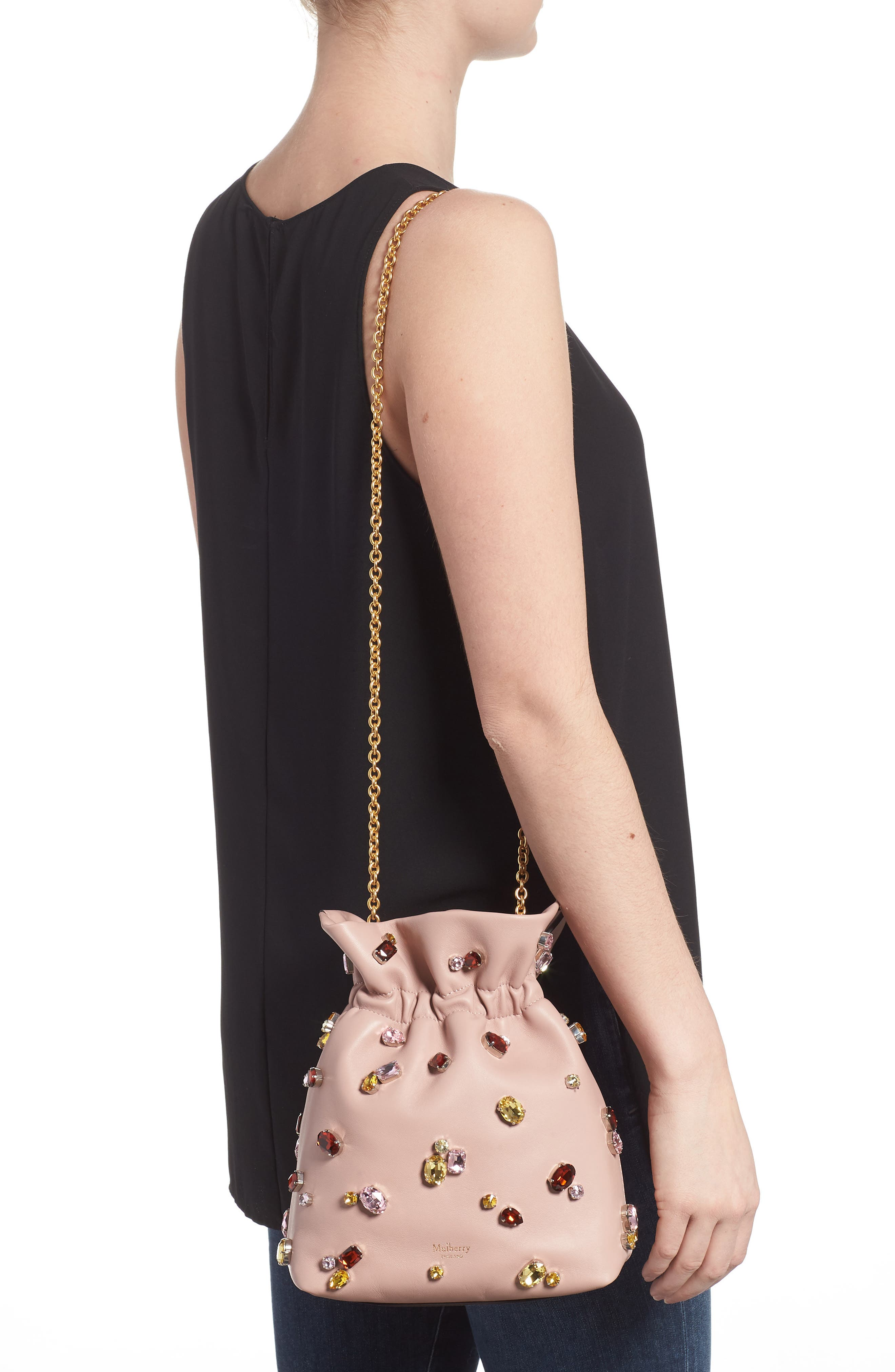 Mini Lynton Embellished Leather Bucket Bag,                             Alternate thumbnail 2, color,
