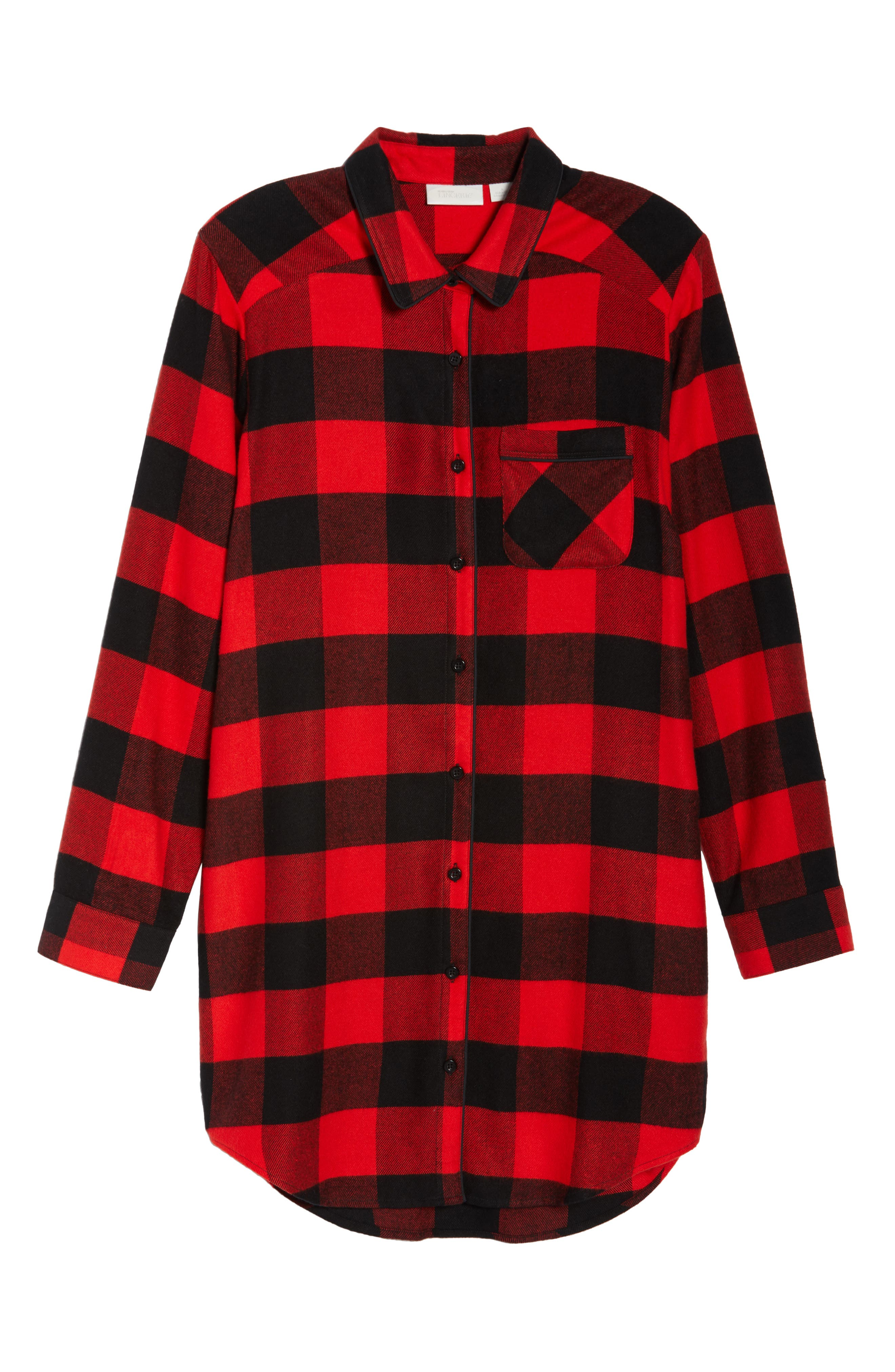 Flannel Nightshirt,                             Alternate thumbnail 6, color,                             RED BLOOM LARGE BUFFALO CHECK