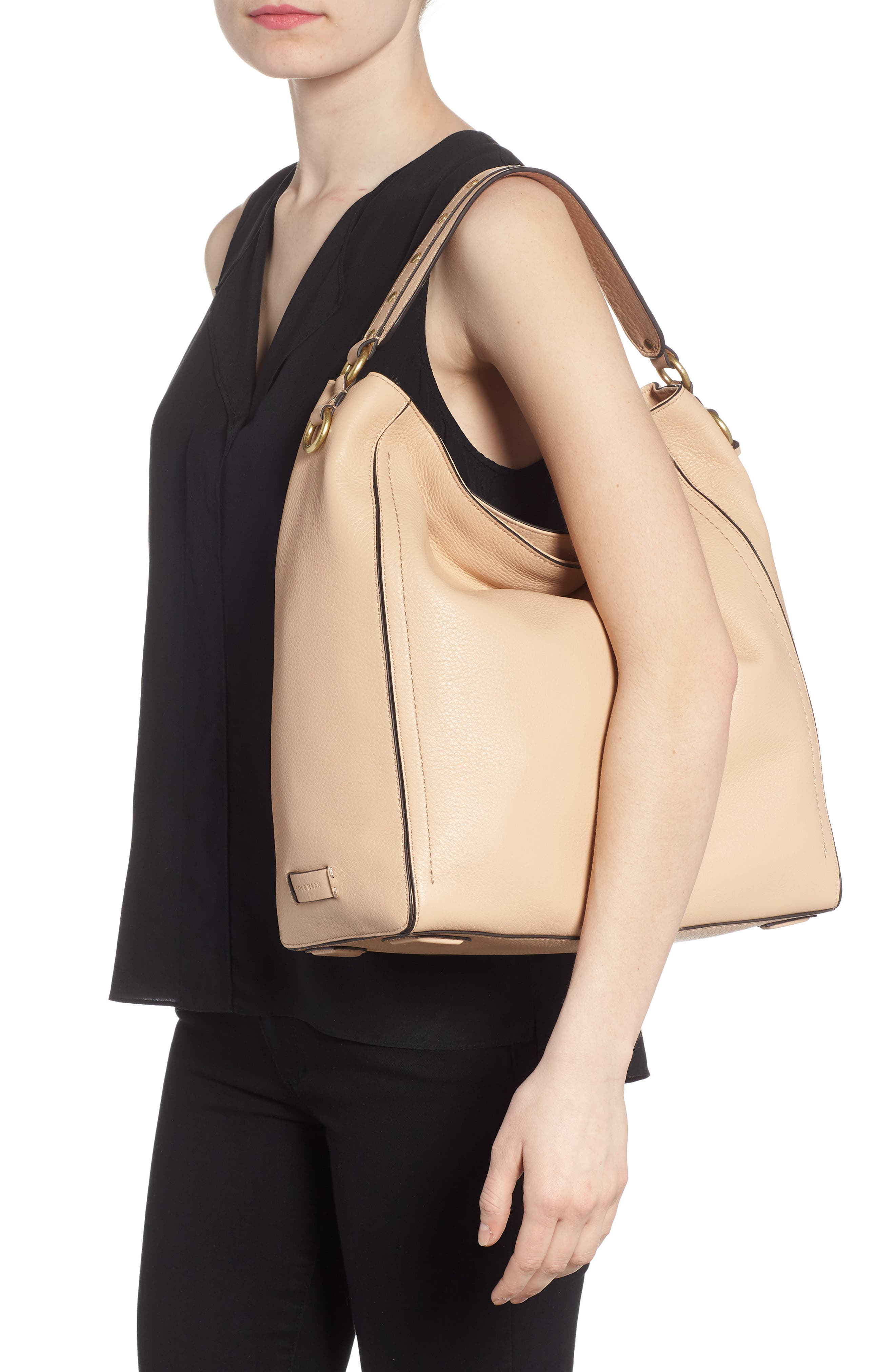 Cassidy RFID Pebbled Leather Bucket Bag,                             Alternate thumbnail 7, color,