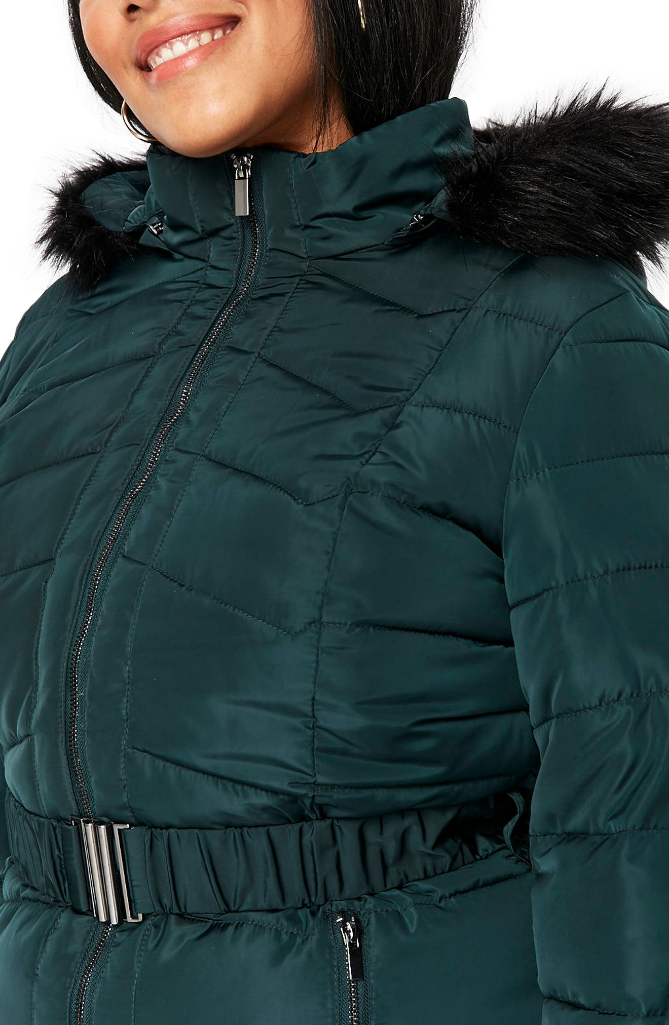 Padded Coat with Faux Fur Trim,                             Alternate thumbnail 3, color,                             300