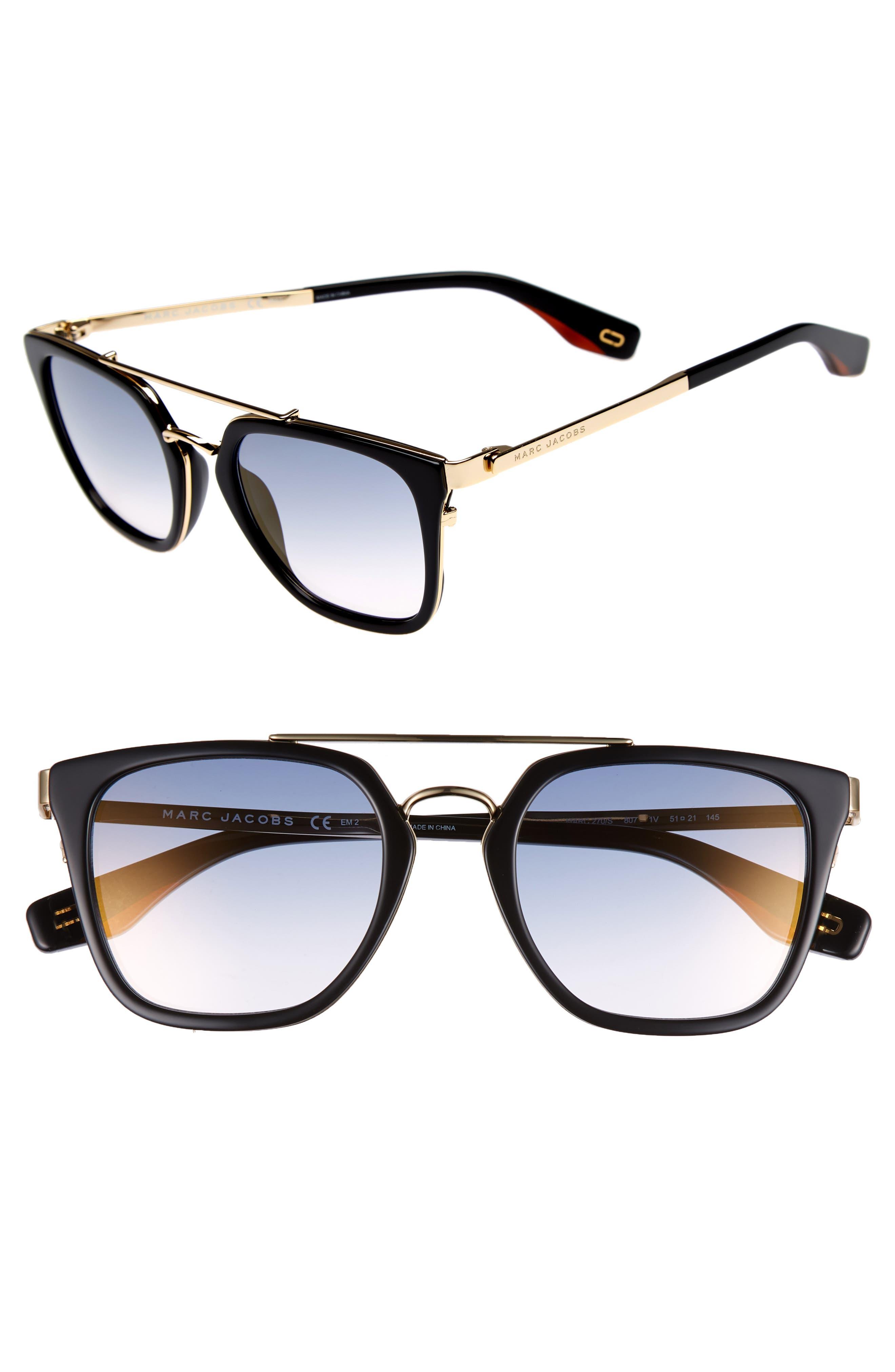 Basic 51mm Aviator Sunglasses,                             Main thumbnail 1, color,                             BLACK