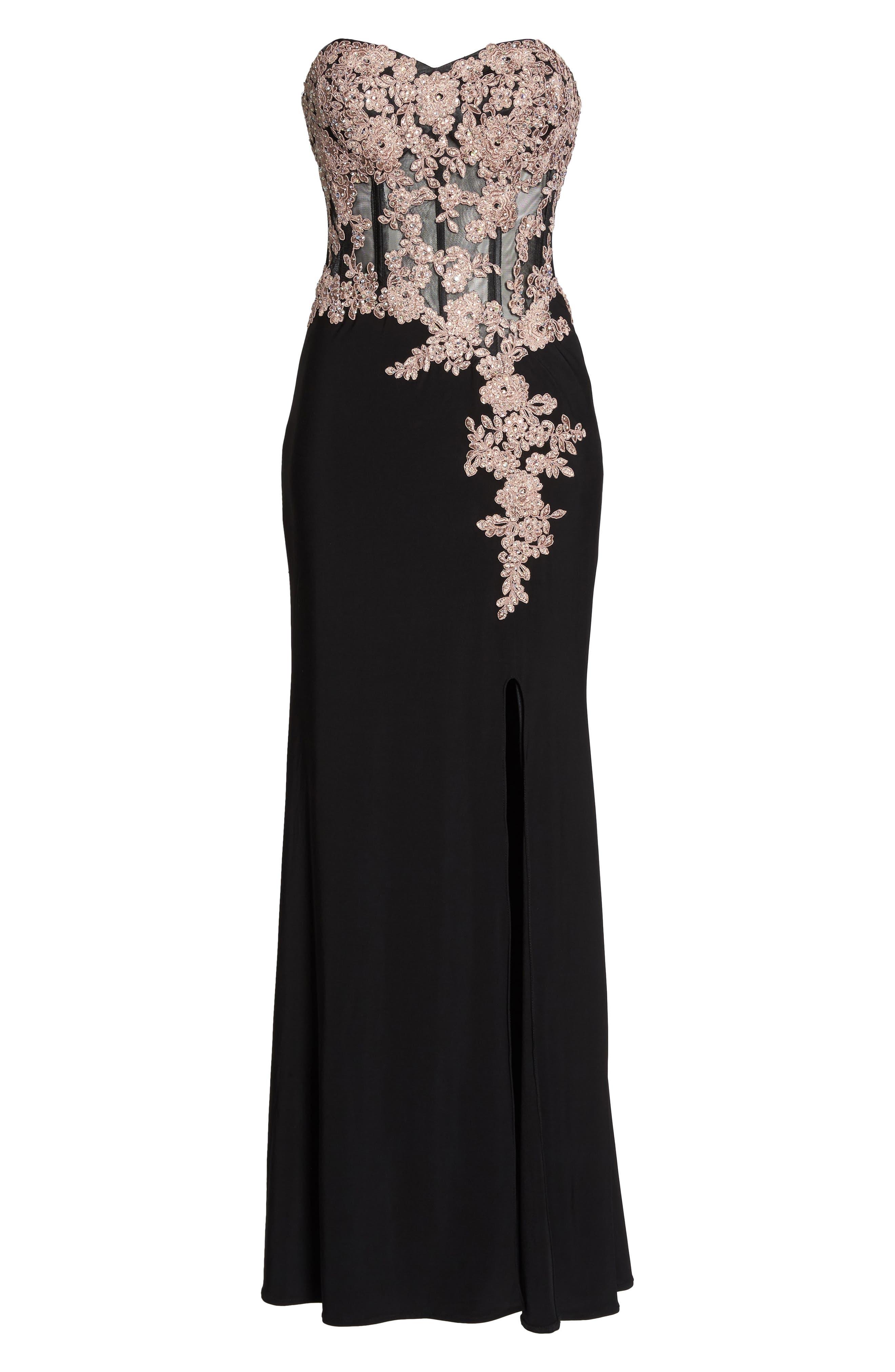 BLONDIE NITES,                             Appliqué Strapless Bustier Gown,                             Alternate thumbnail 6, color,                             015