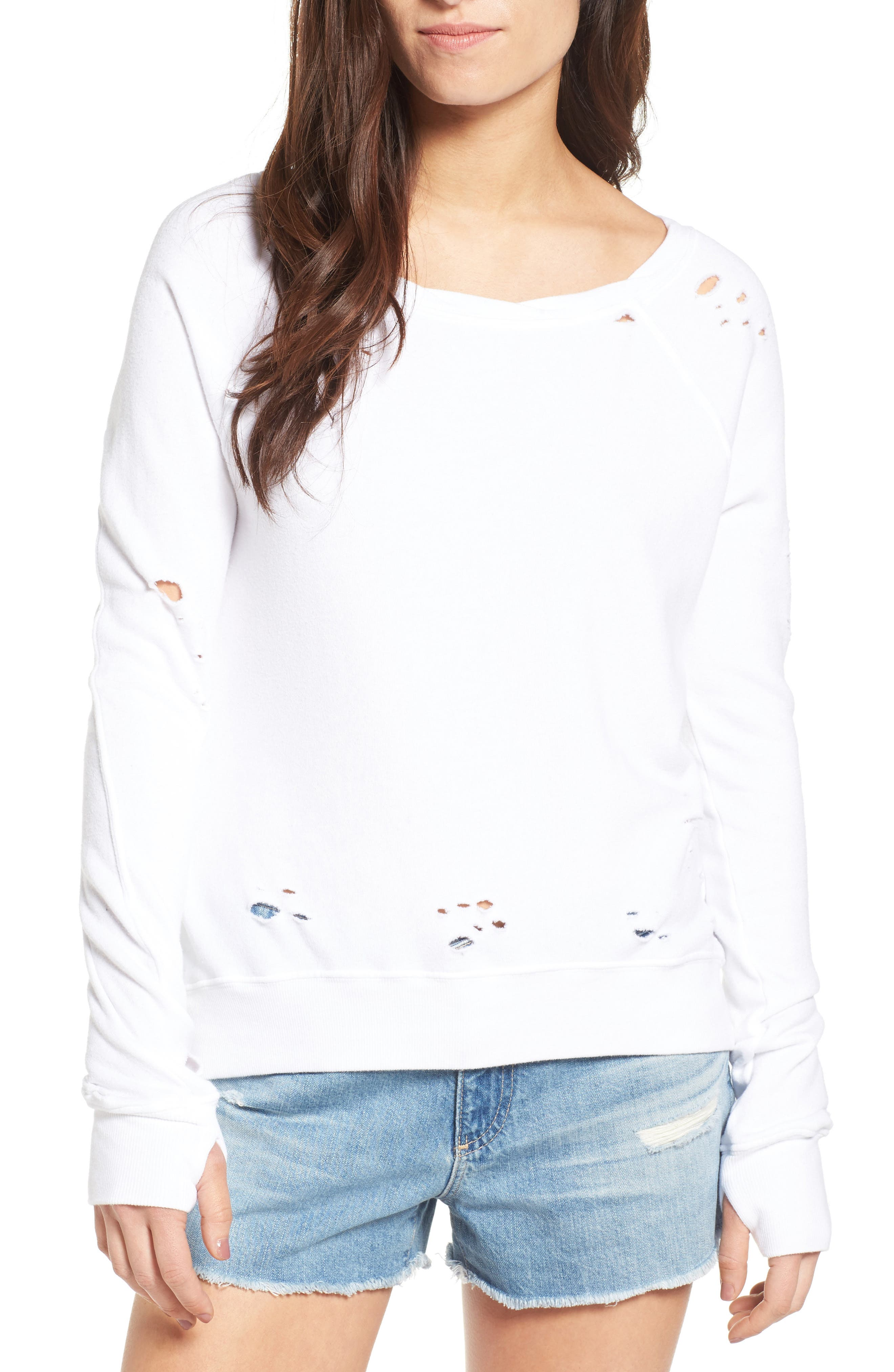 'Annie' Destroyed High/Low Sweatshirt,                             Main thumbnail 3, color,
