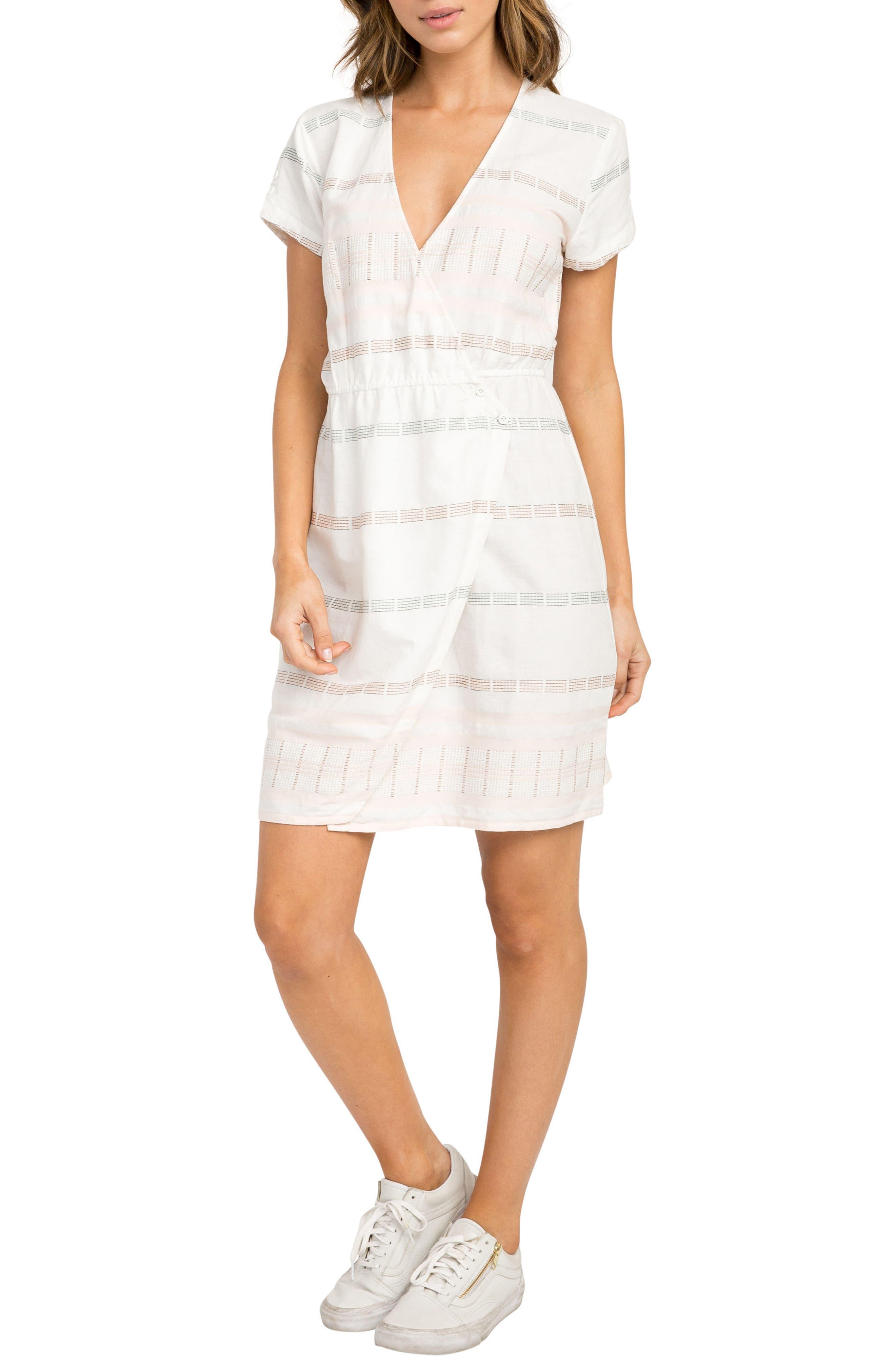 RVCA Rose Wrap Dress, Main, color, 105