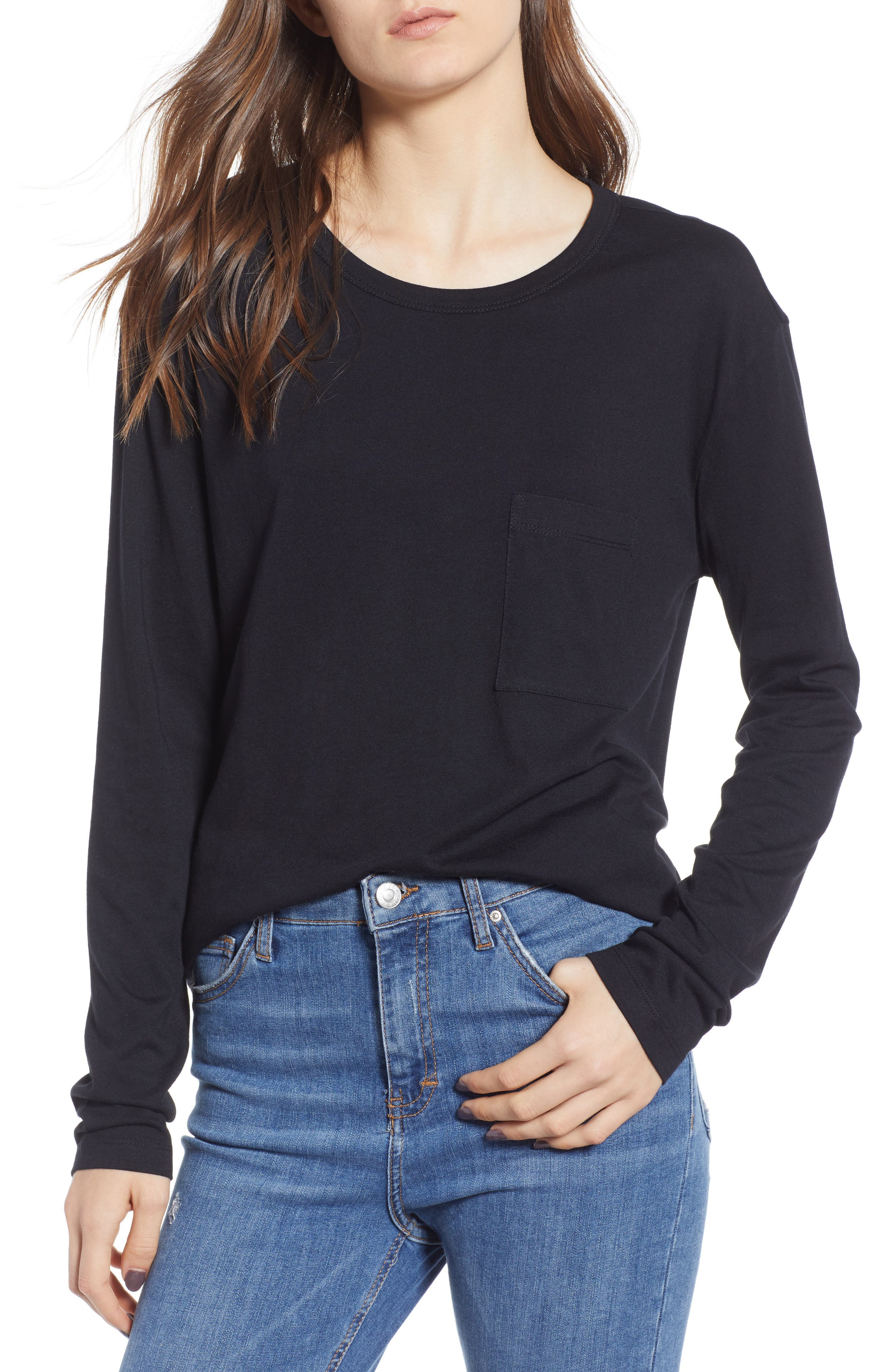 Slouch Pocket Tee,                         Main,                         color, BLACK