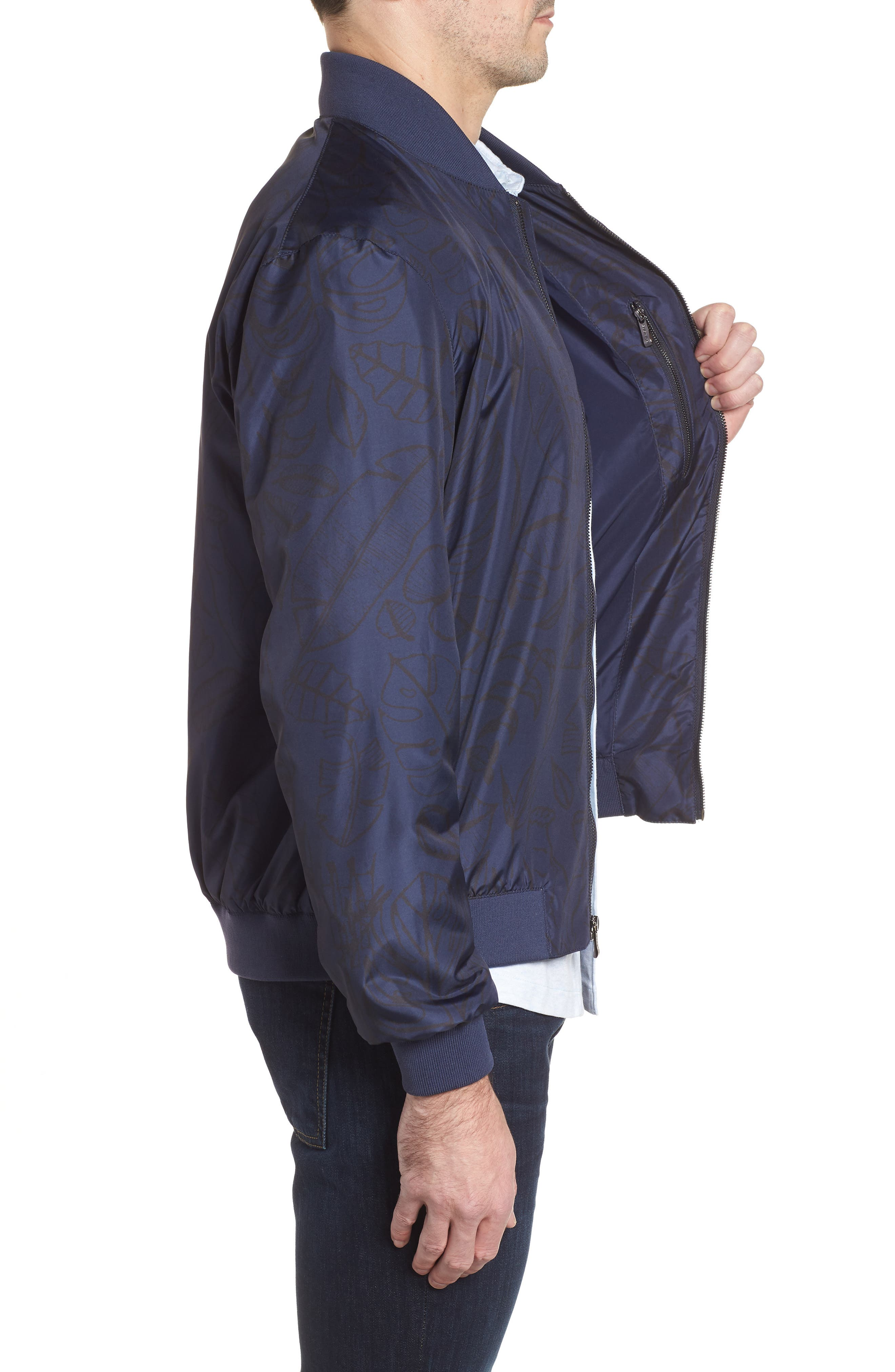 Print Water Repellent Bomber Jacket,                             Alternate thumbnail 3, color,                             411