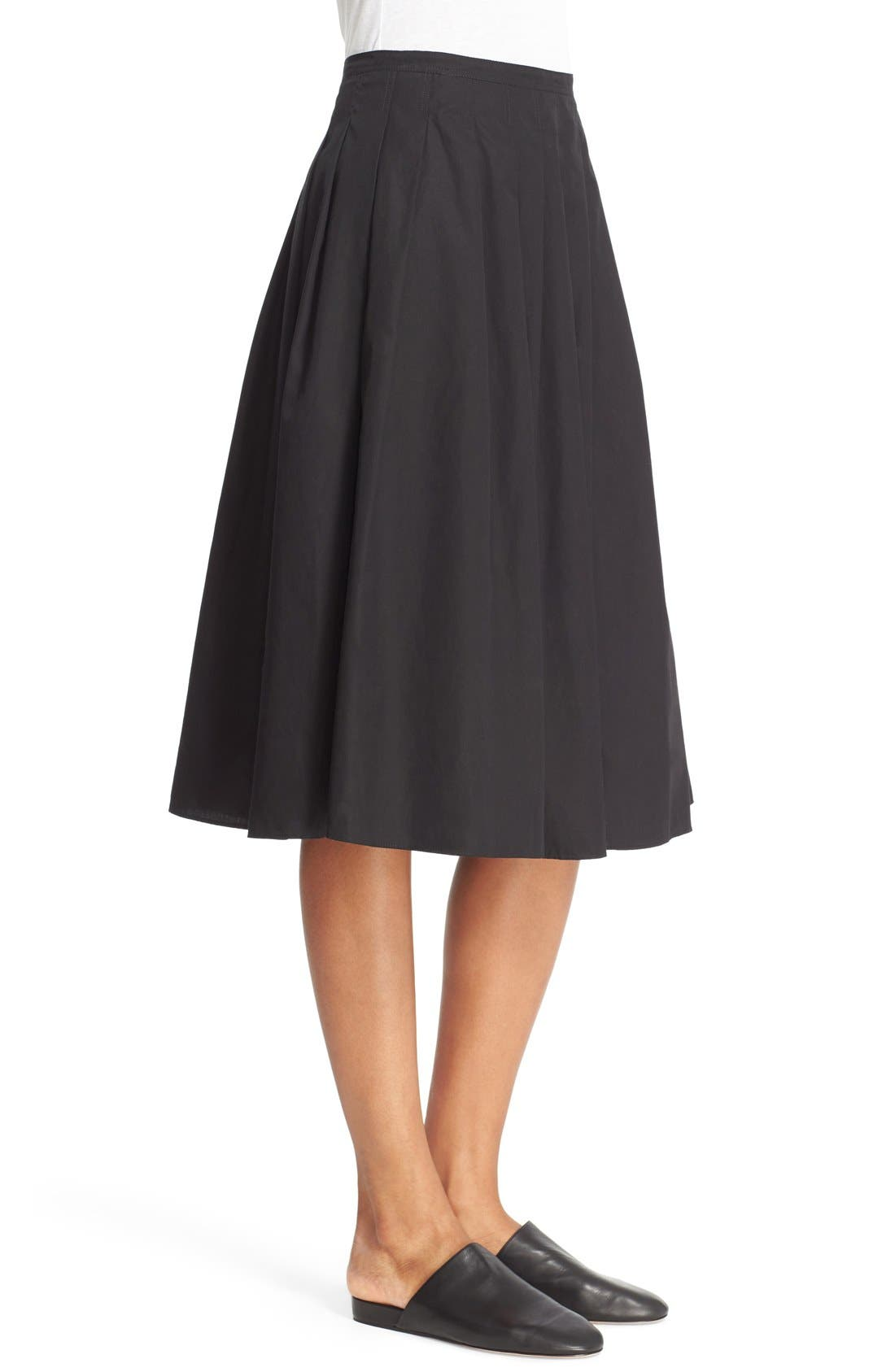 VINCE,                             Multi Pleated Cotton Skirt,                             Alternate thumbnail 4, color,                             001