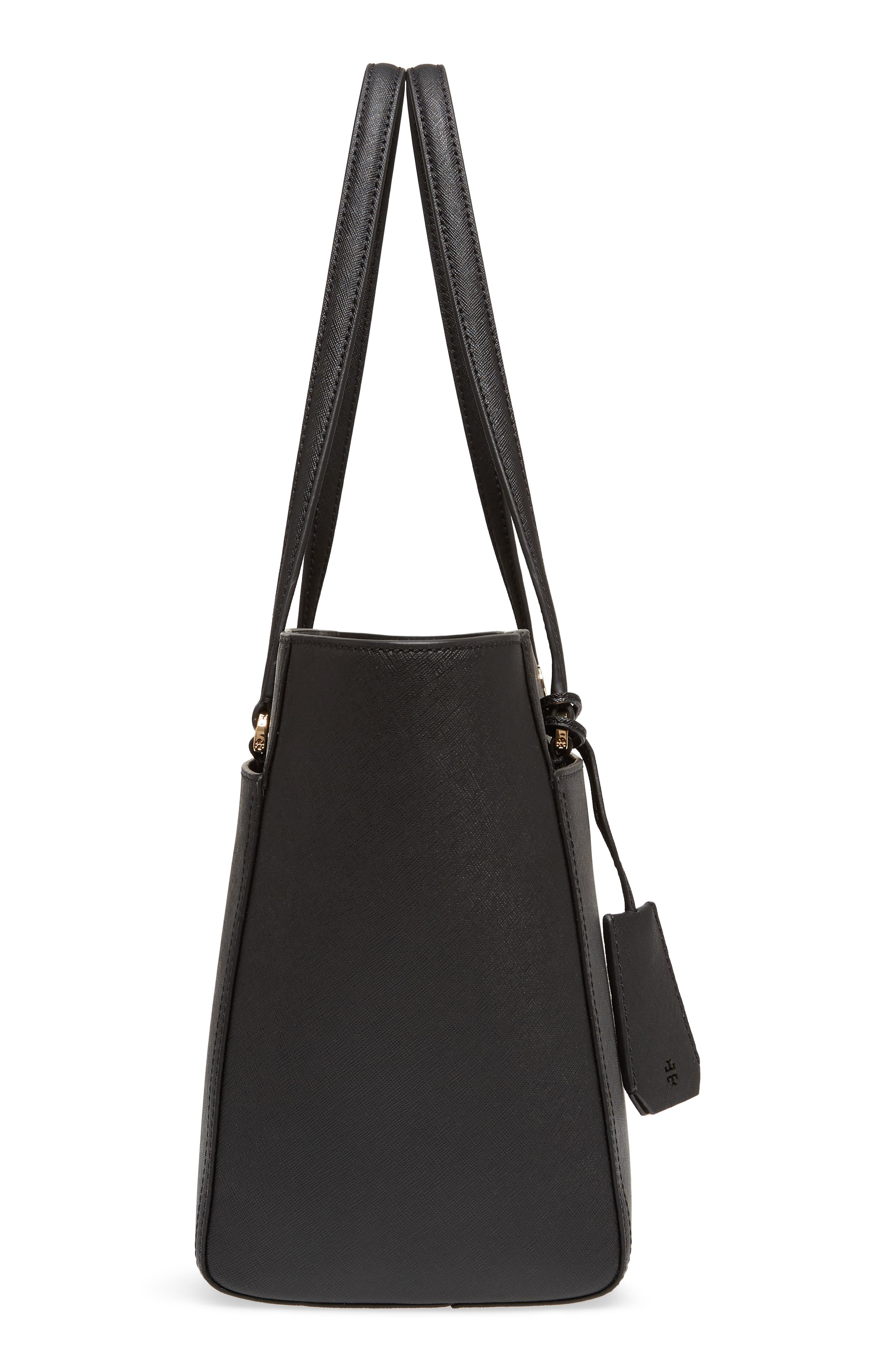 Small Robinson Leather Tote,                             Alternate thumbnail 5, color,                             BLACK / ROYAL NAVY