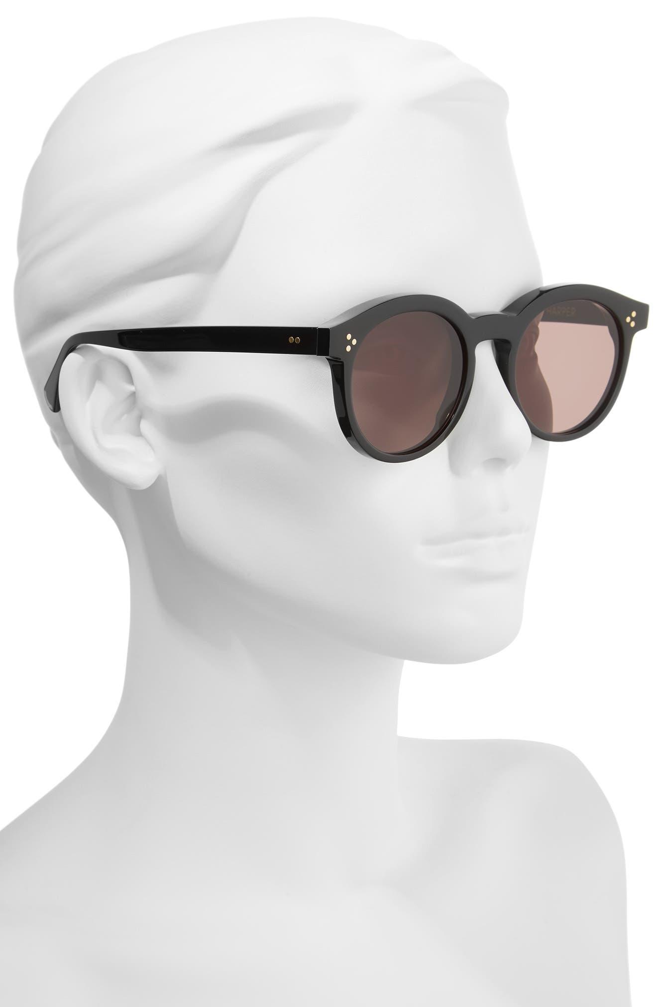 Harper Zero 53mm Round Keyhole Sunglasses,                             Alternate thumbnail 2, color,                             001
