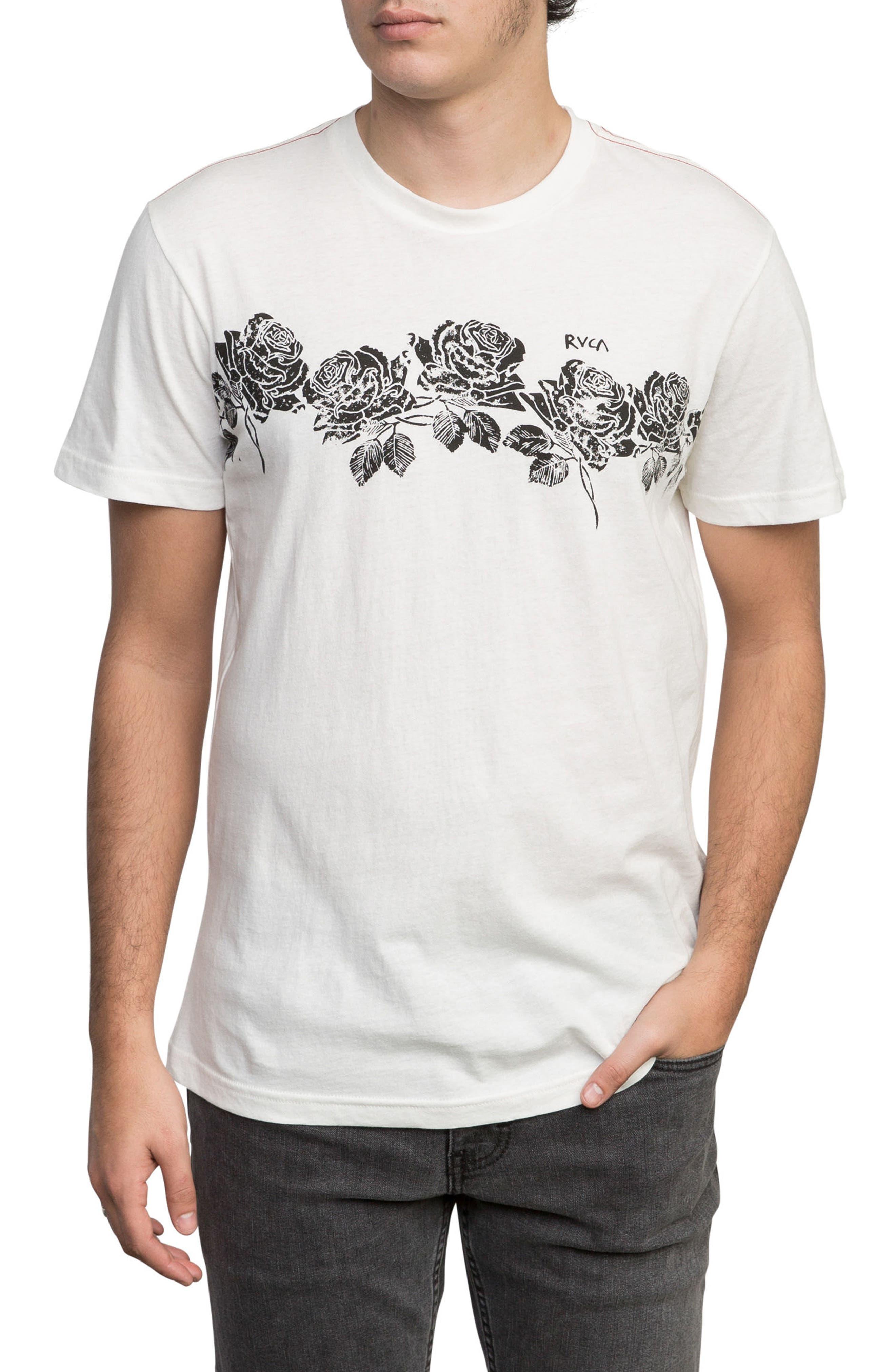 Oblow Roses T-Shirt,                             Main thumbnail 1, color,                             ANTIQUE WHITE