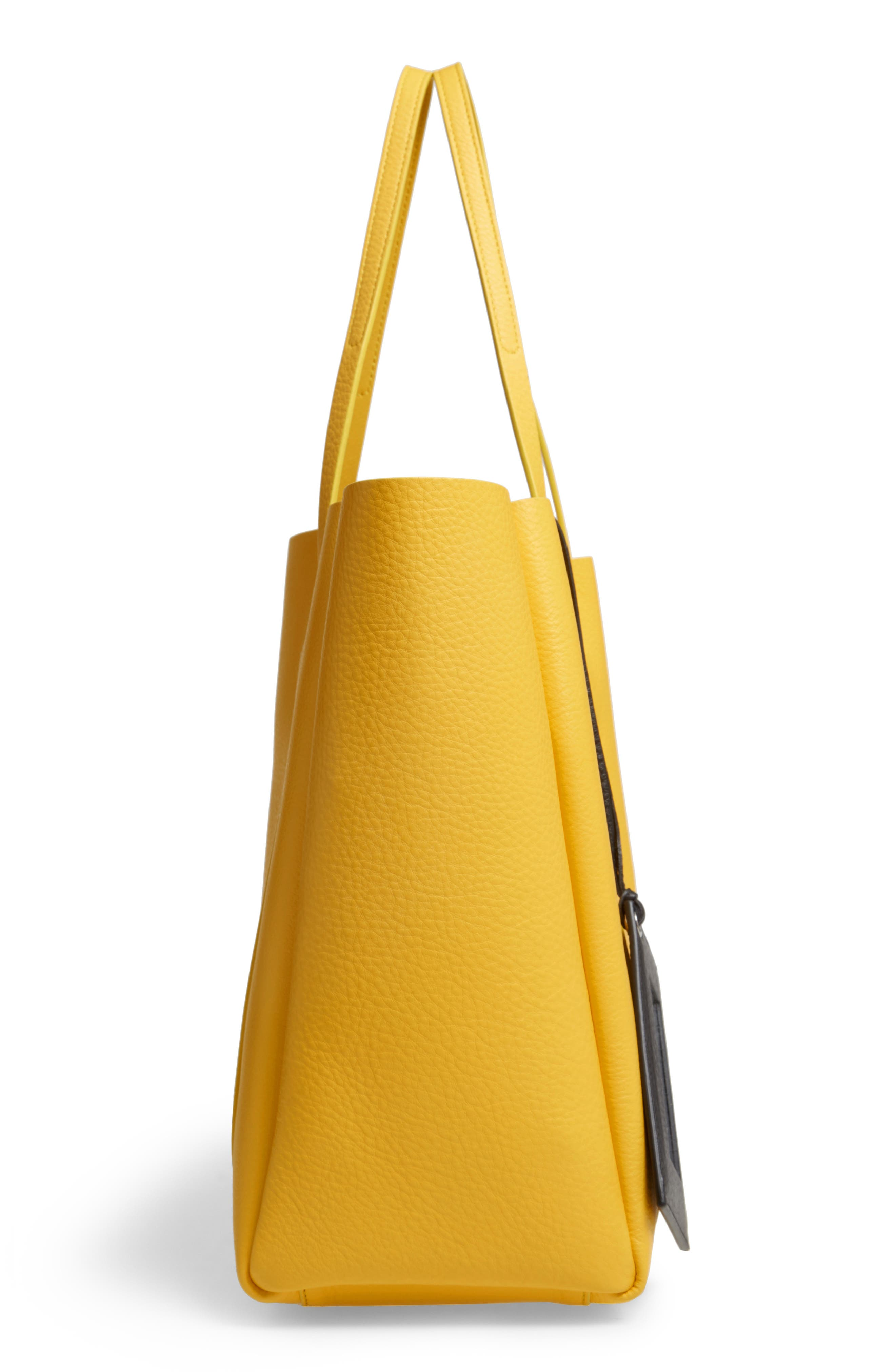 Small Everyday Calfskin Tote,                             Alternate thumbnail 5, color,                             YELLOW/ NOIR