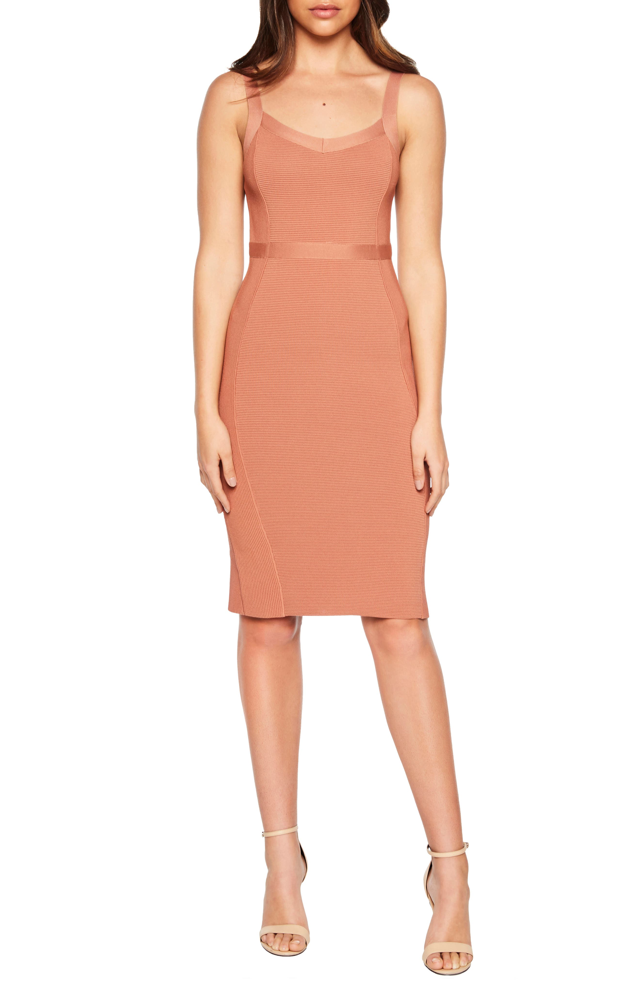 Bardot Katy Mixed Stitch Sweater Dress, Pink