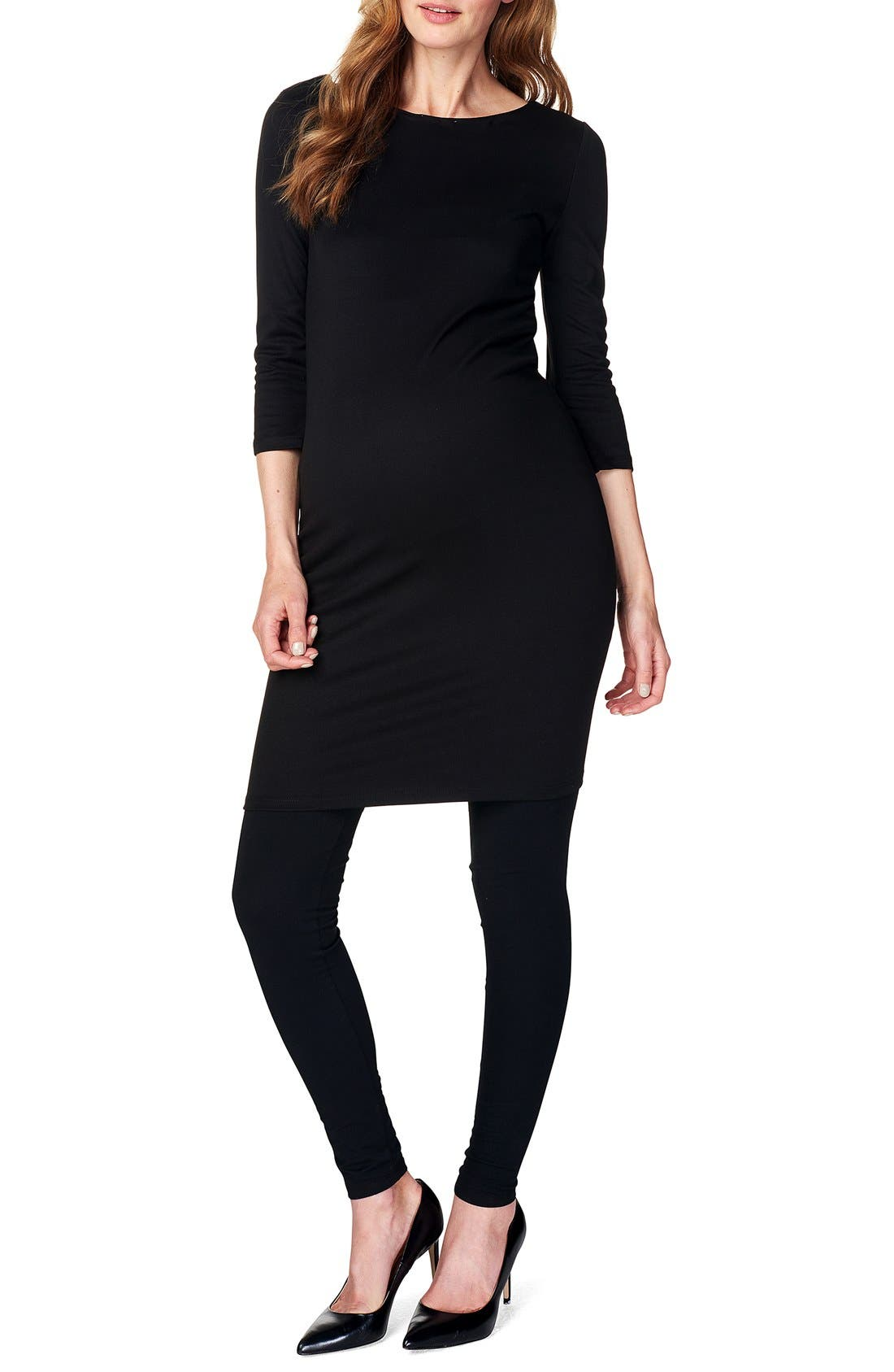 Maternity Dress,                             Main thumbnail 1, color,                             BLACK