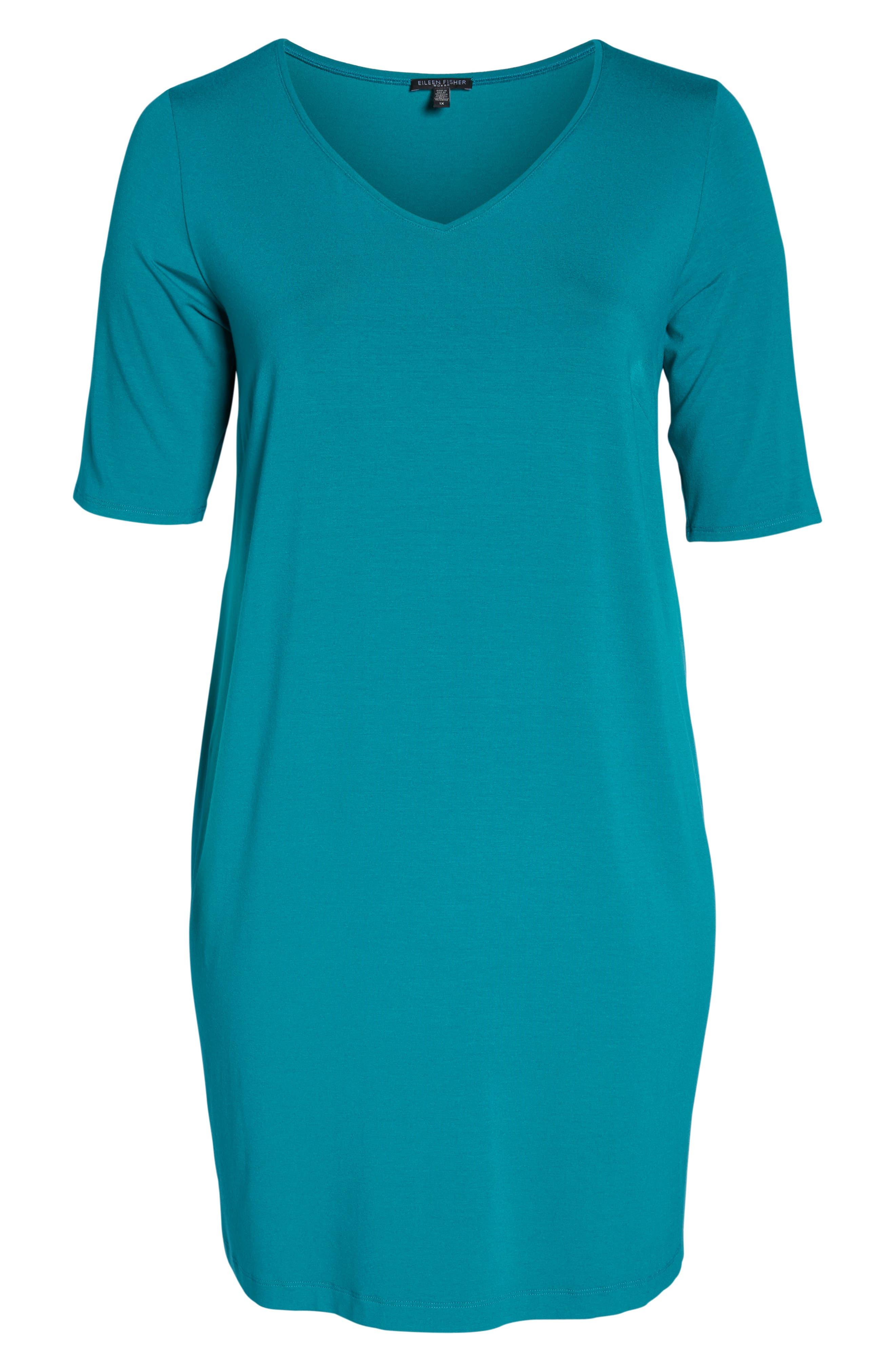 V-Neck Stretch Jersey Shift Dress,                             Alternate thumbnail 30, color,