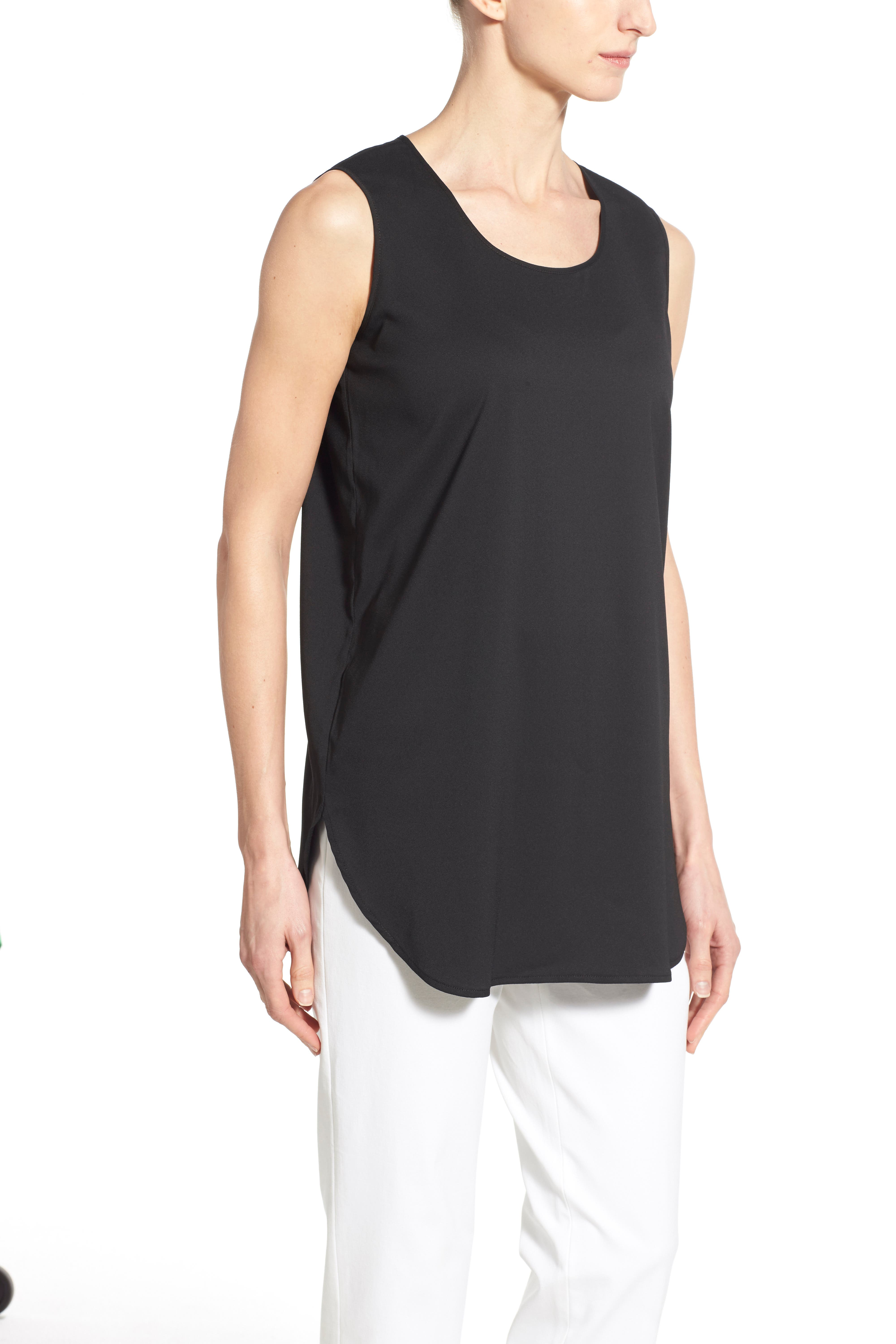 Sleeveless Woven Shell,                             Alternate thumbnail 3, color,                             BLACK