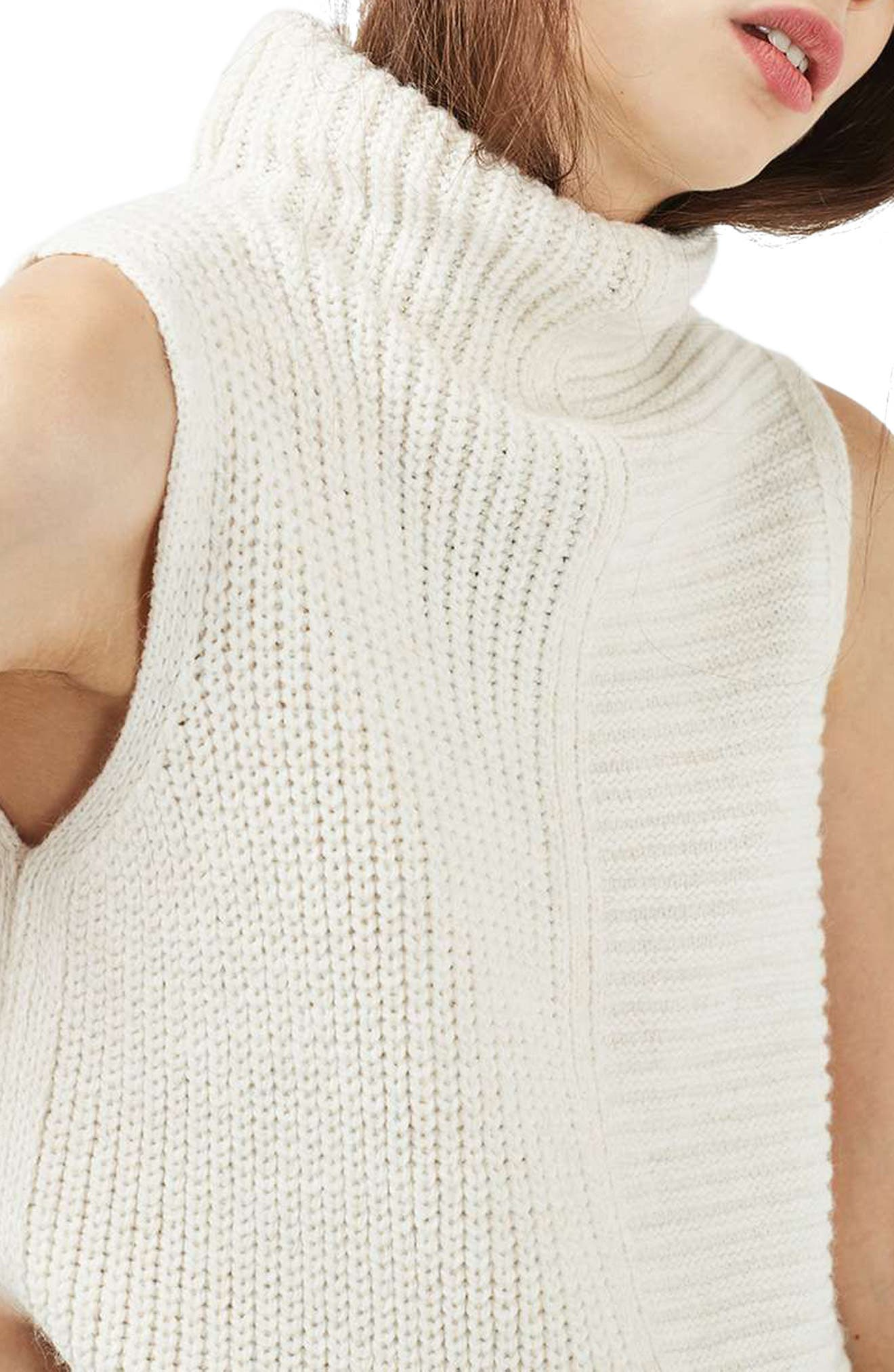 Sleeveless Turtleneck Sweater,                             Alternate thumbnail 3, color,                             900