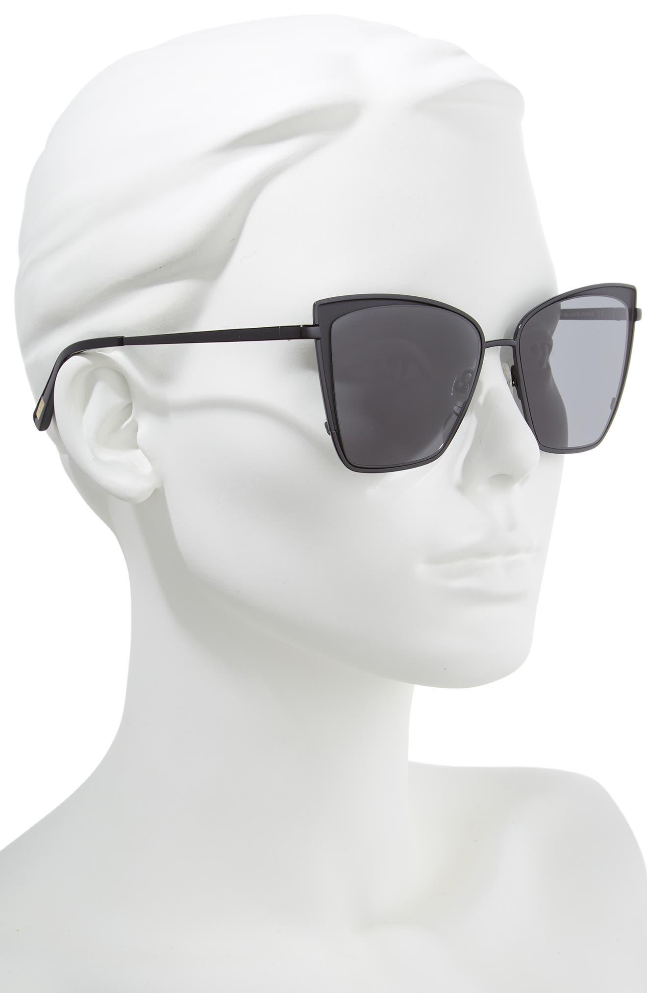 Becky 57mm Sunglasses,                             Alternate thumbnail 2, color,                             BLACK/ GREY
