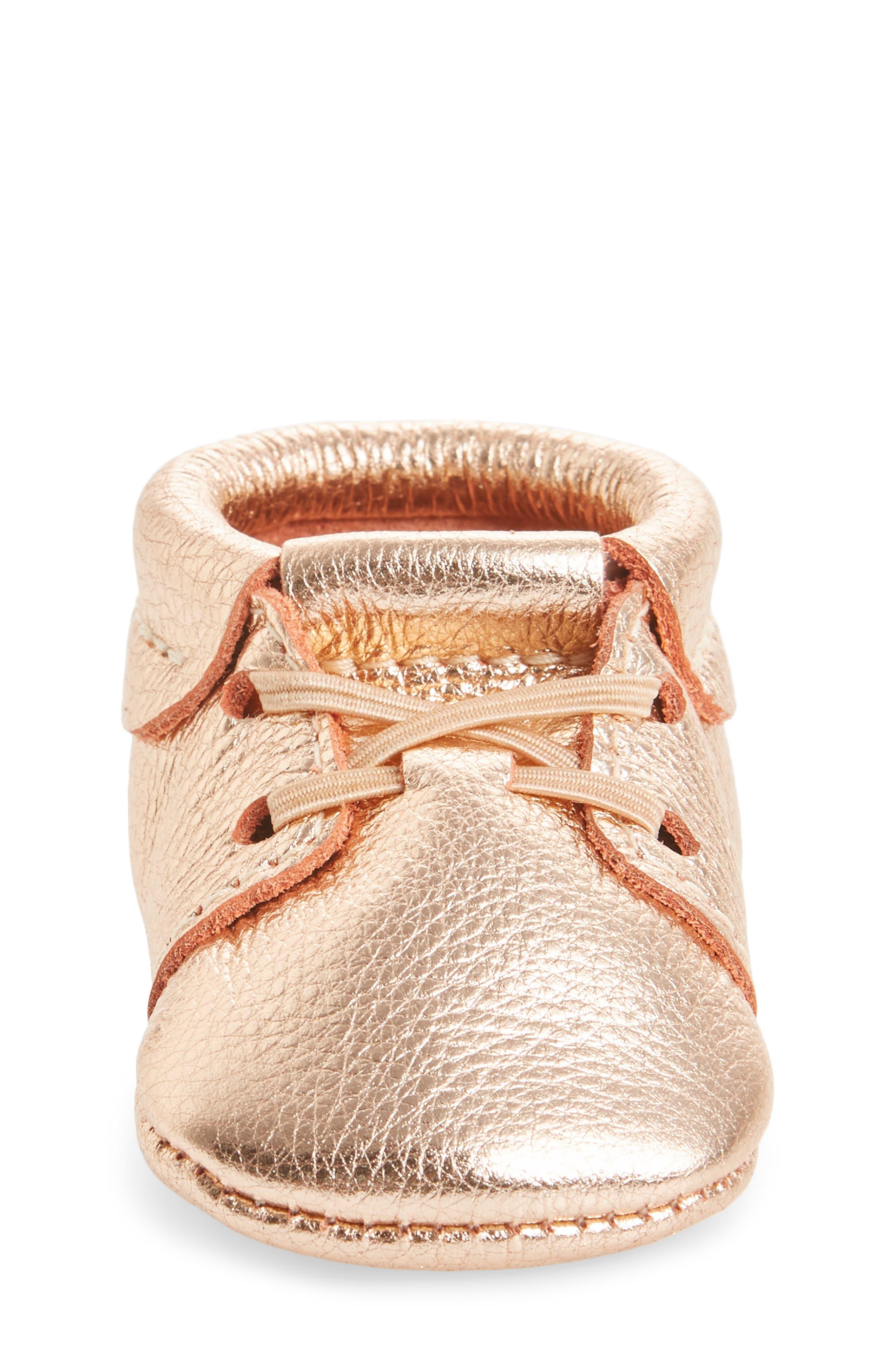 Oxford Crib Shoe,                             Alternate thumbnail 4, color,                             ROSE GOLD LEATHER
