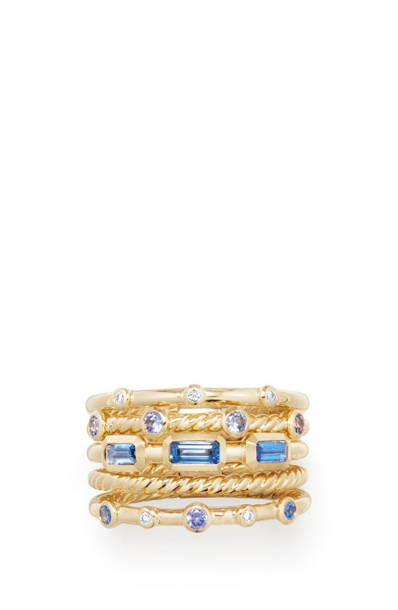 DAVID YURMAN,                             Novella Stack Ring with Diamonds,                             Alternate thumbnail 3, color,                             GOLD/ DIAMOND/ BLUE SAPPHIRE