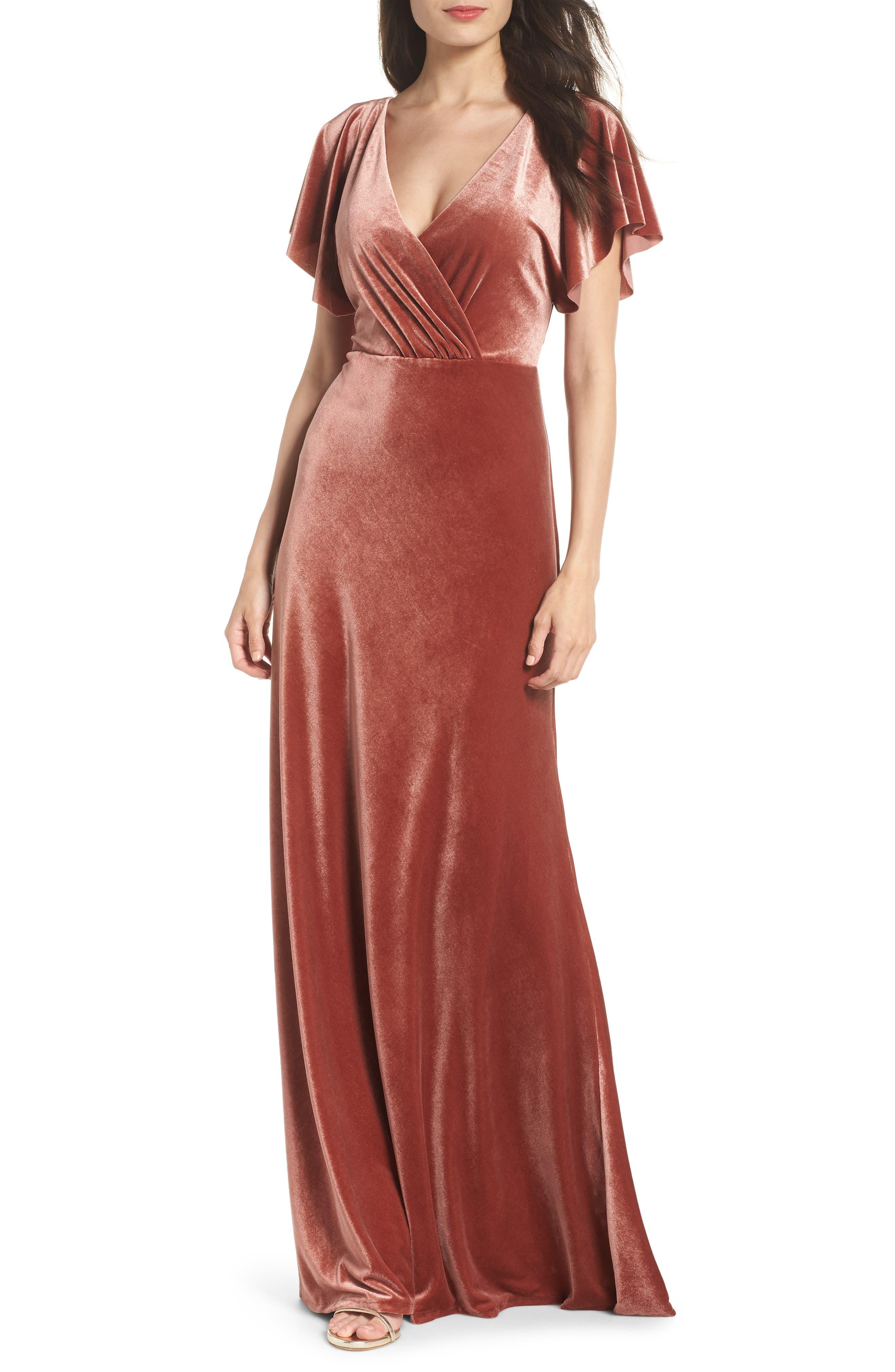 Ellis Flutter Sleeve Stretch Velvet Gown in English Rose