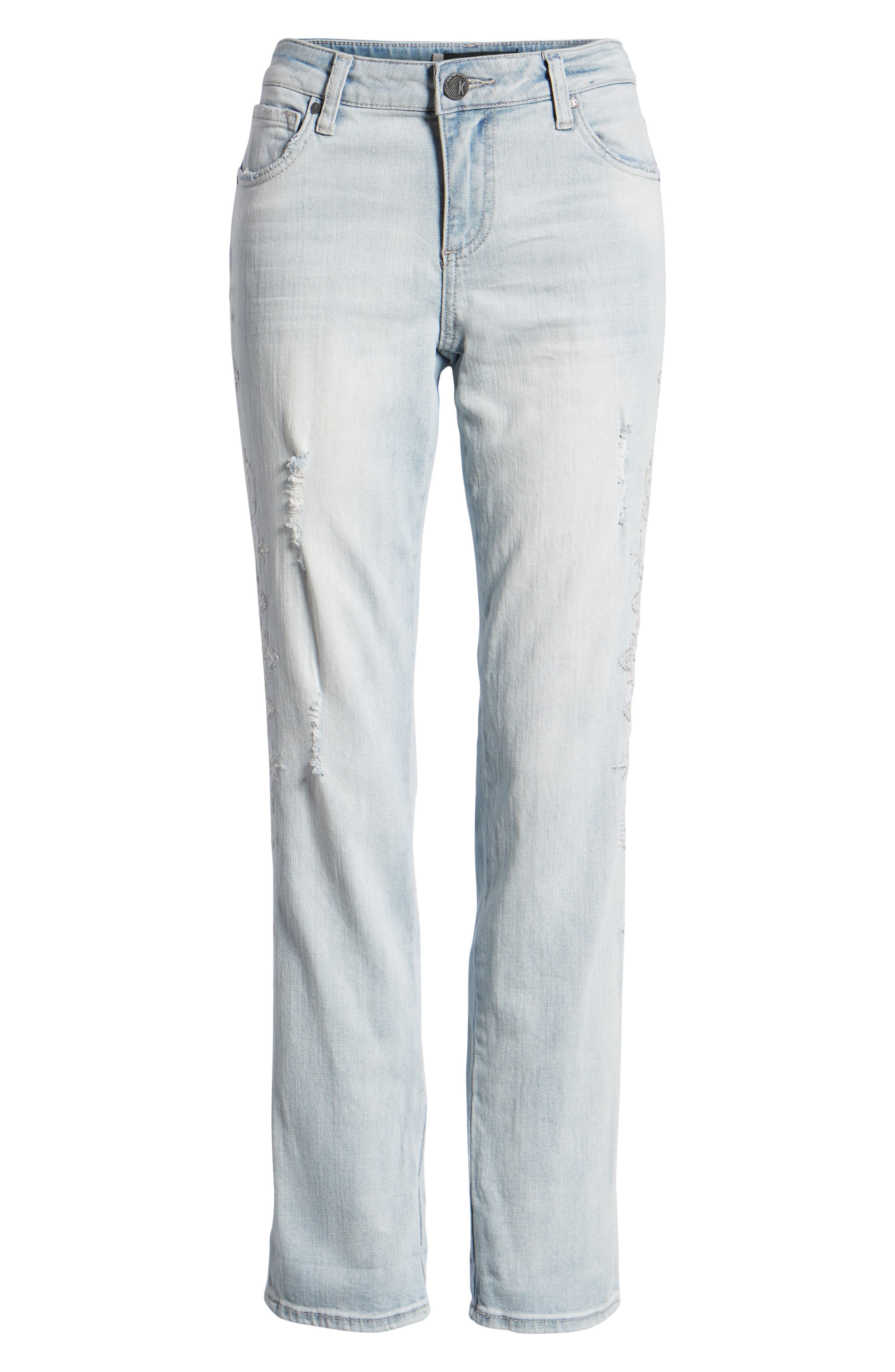 KUT from the Kloth Catherine Embroidered & Ripped Boyfriend Jeans,                             Alternate thumbnail 7, color,