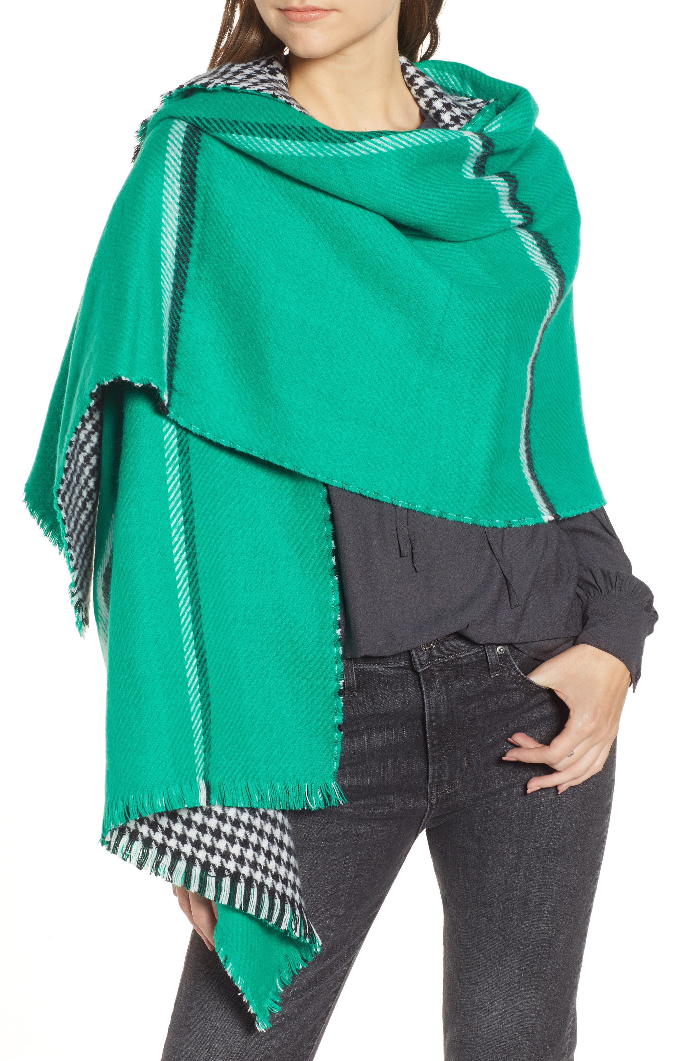 Double Sided Check Blanket Scarf,                         Main,                         color, GREEN COMBO