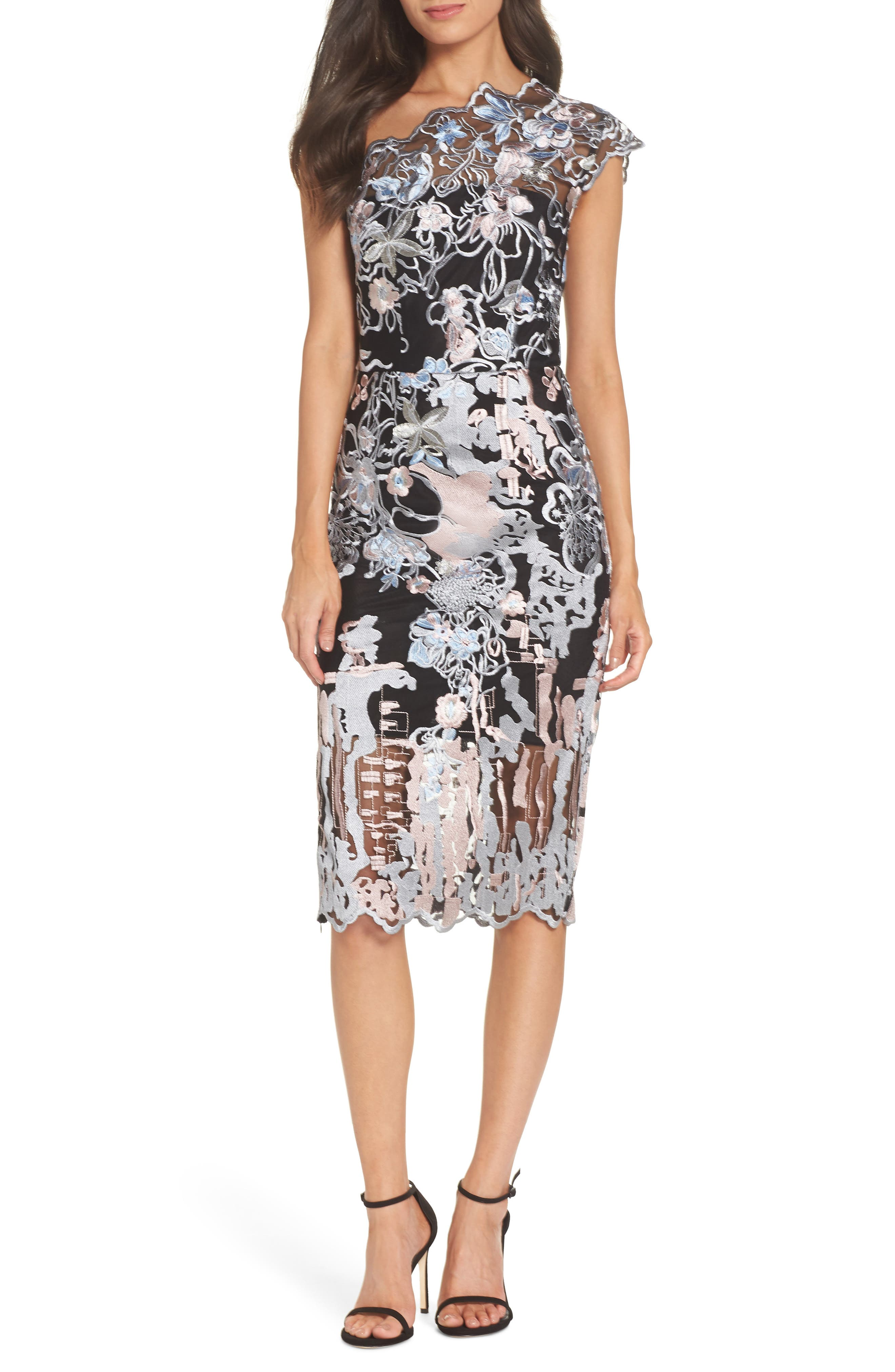 BRONX AND BANCO Tokyo One-Shoulder Sheath Dress in Multi Color