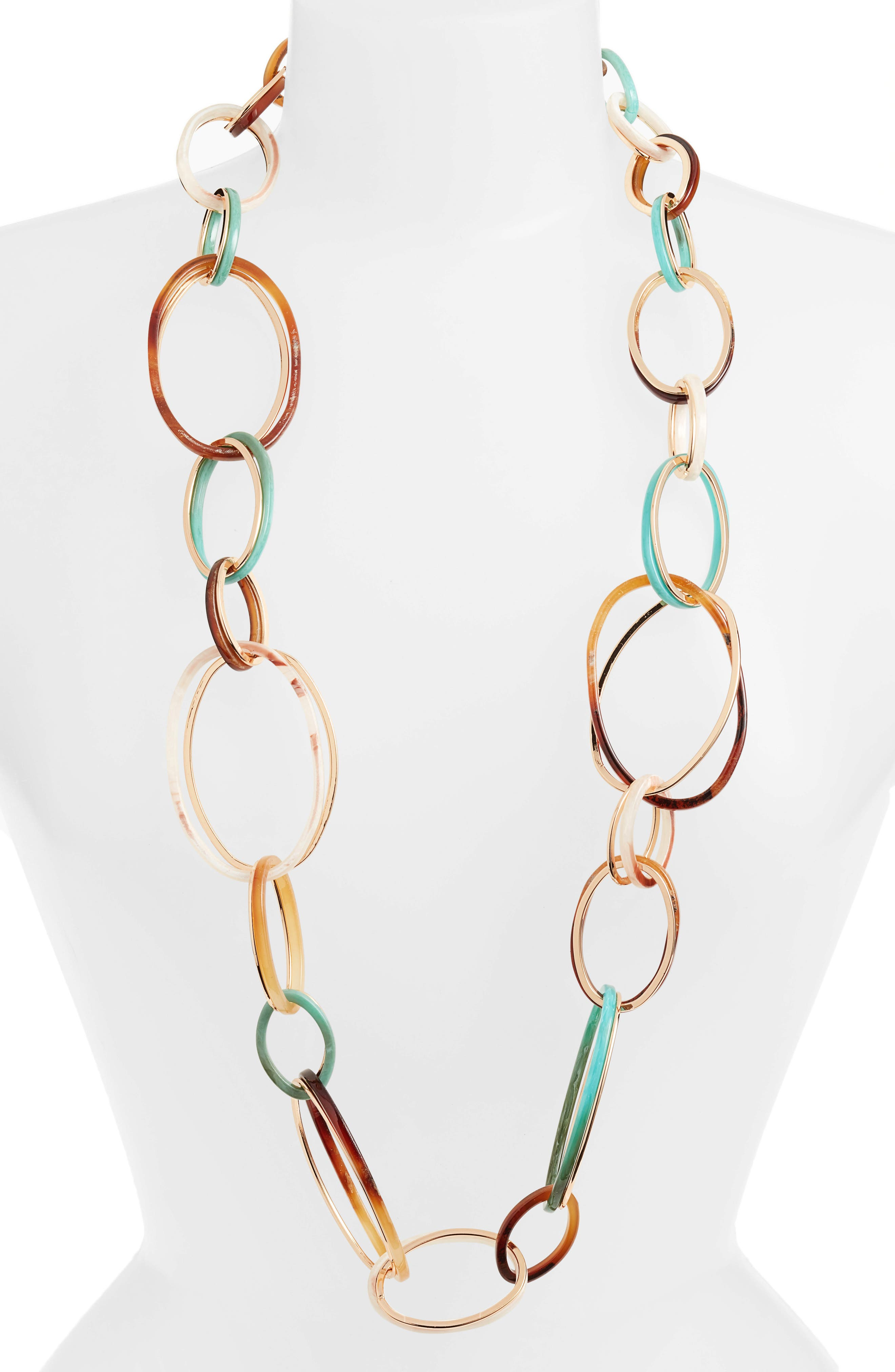 Big Link Statement Necklace,                             Main thumbnail 1, color,                             GREEN/ BROWN