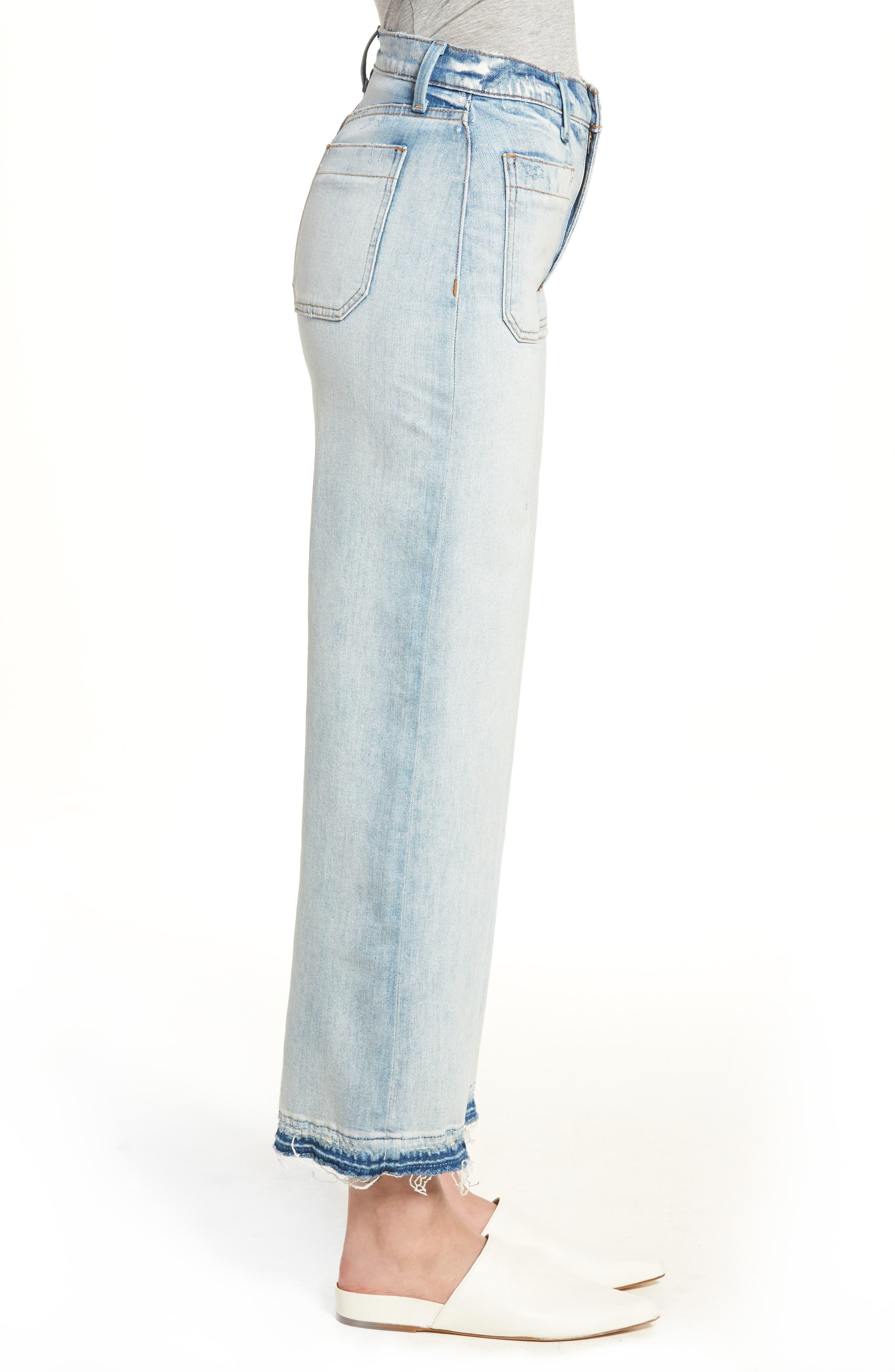 Holly High Waist Released Hem Crop Wide Leg Jeans,                             Alternate thumbnail 3, color,                             460