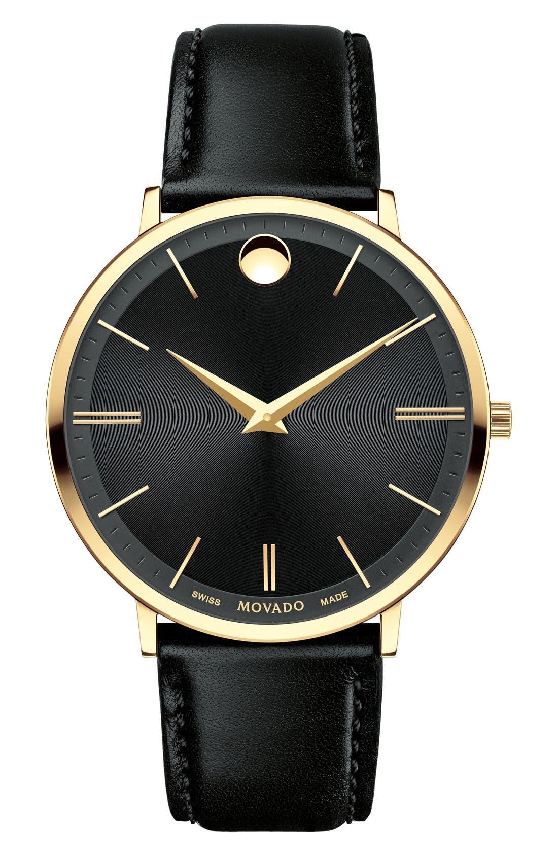 'Ultra Slim' Leather Strap Watch, 40mm,                         Main,                         color, BLACK/ BLACK/ GOLD