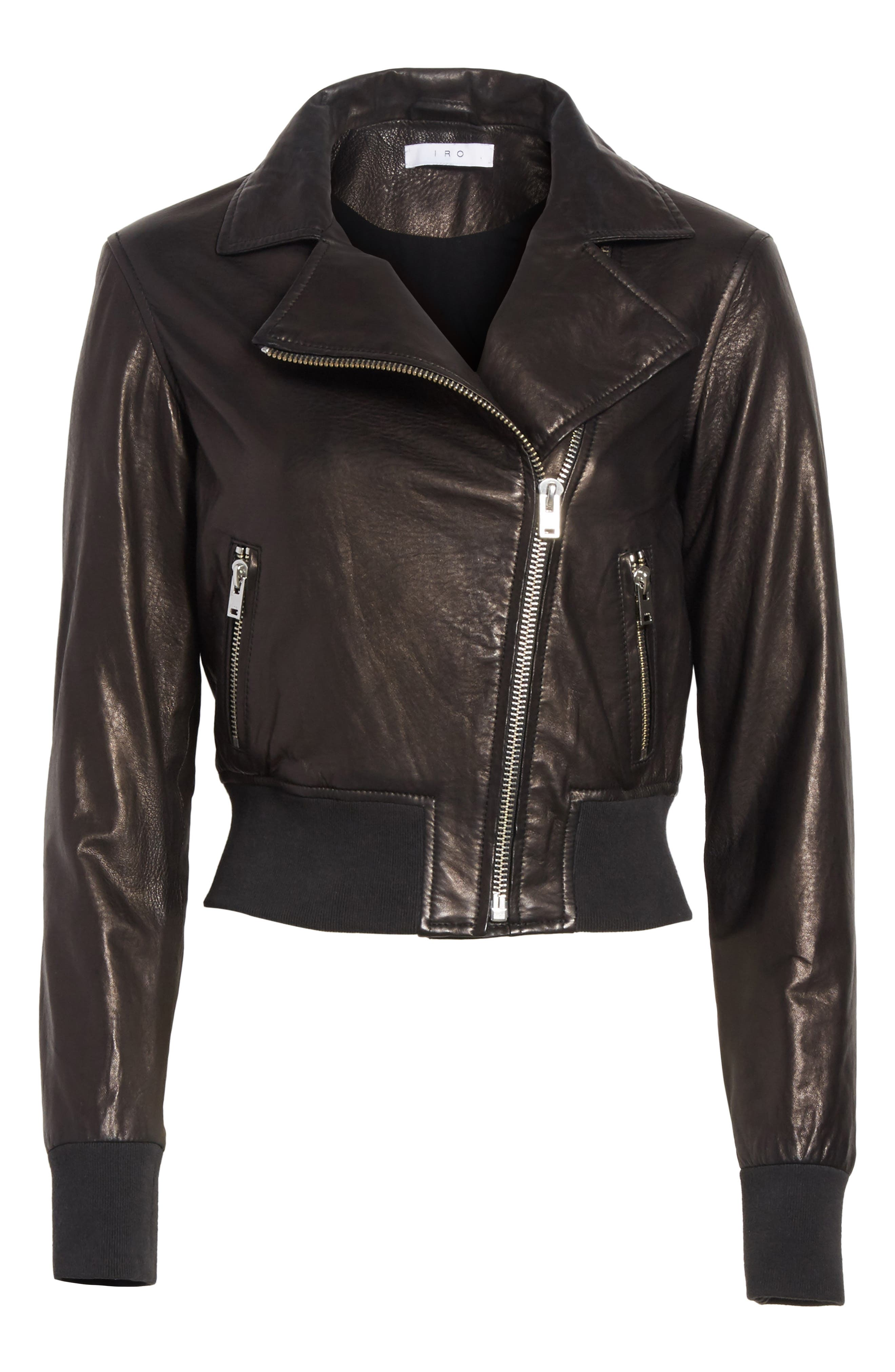 Kalore Leather Moto Jacket,                             Alternate thumbnail 5, color,                             001
