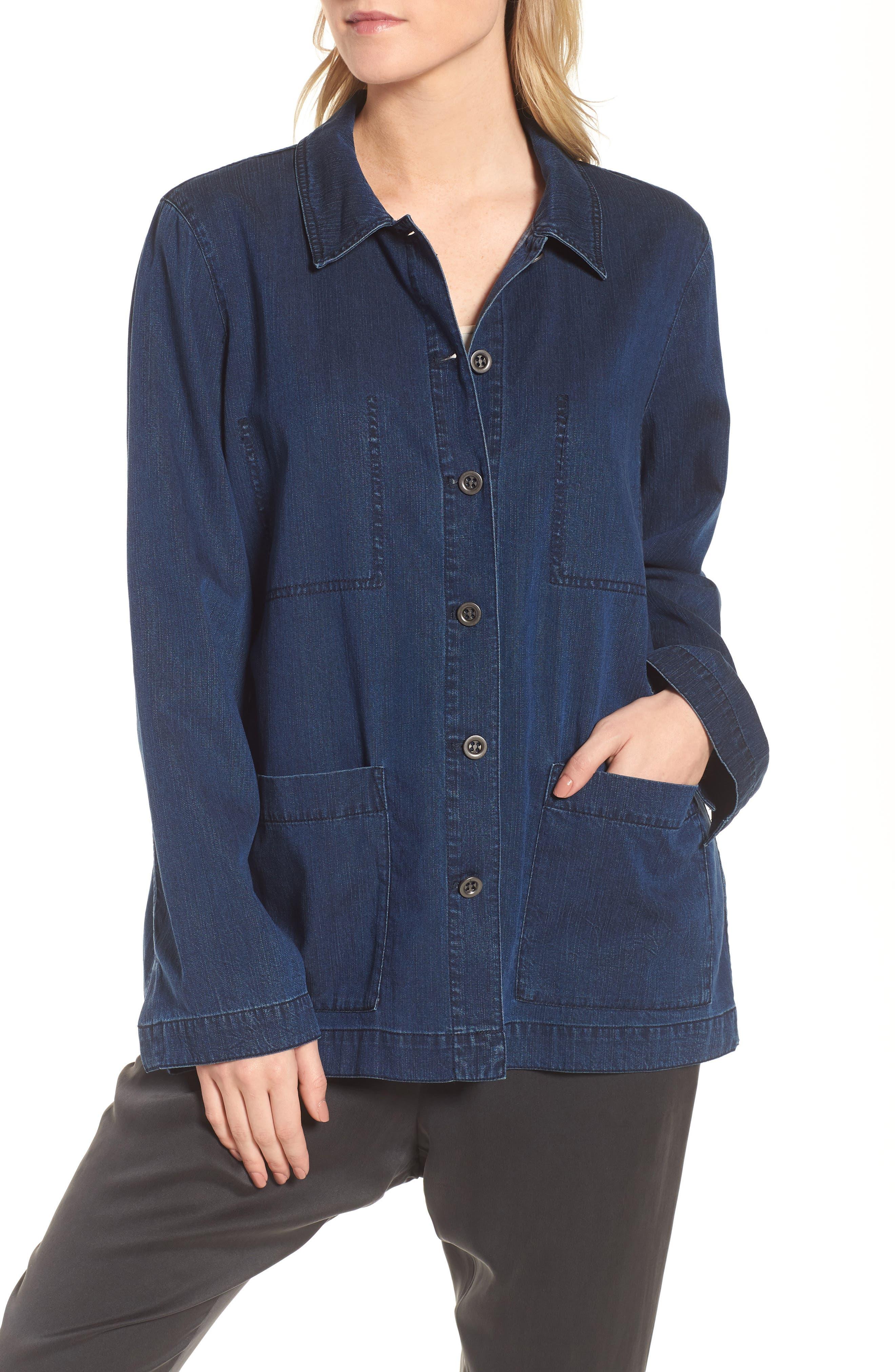 Soft Cotton Blend Denim Jacket,                             Alternate thumbnail 4, color,                             419