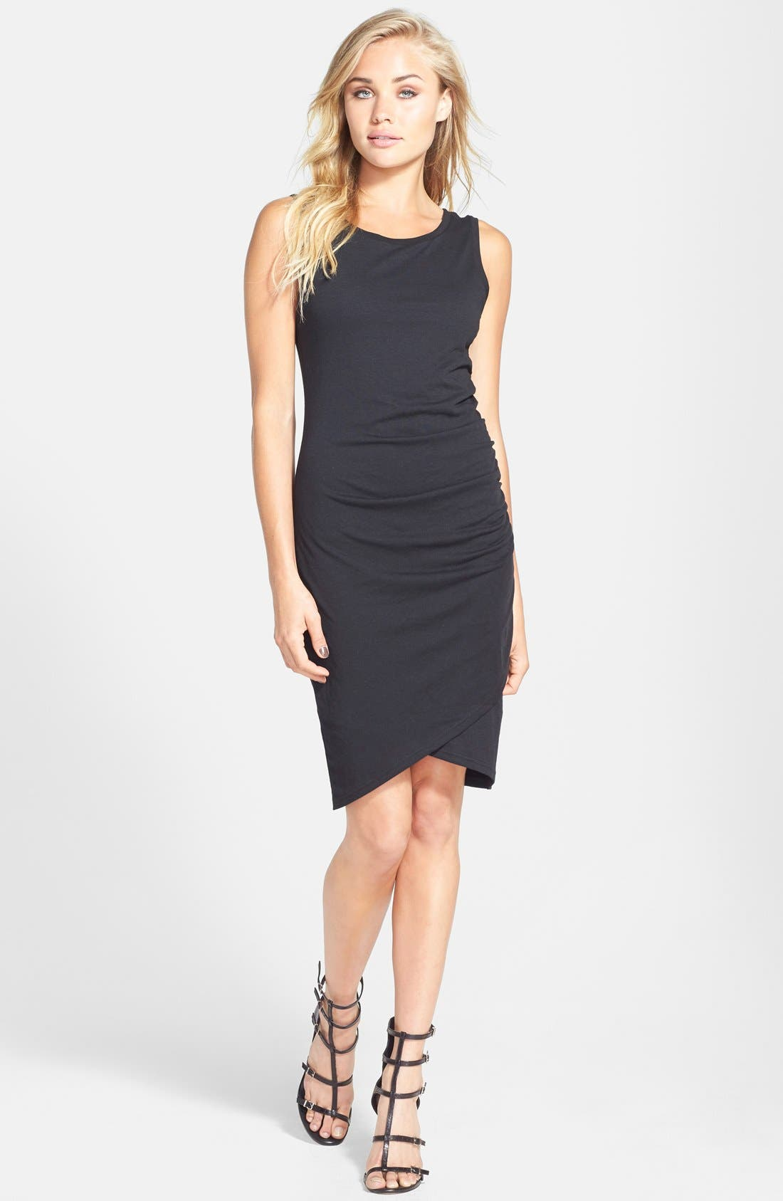 Ruched Body-Con Tank Dress,                         Main,                         color, BLACK