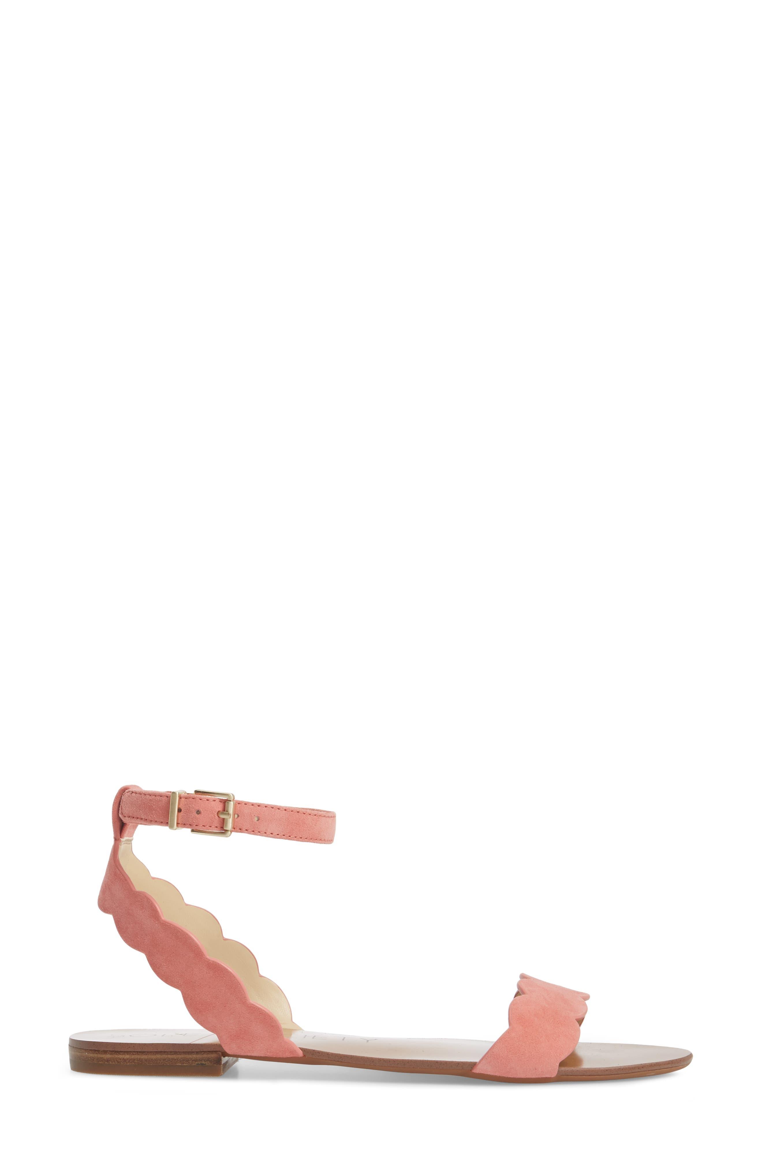 'Odette' Scalloped Ankle Strap Flat Sandal,                             Alternate thumbnail 16, color,