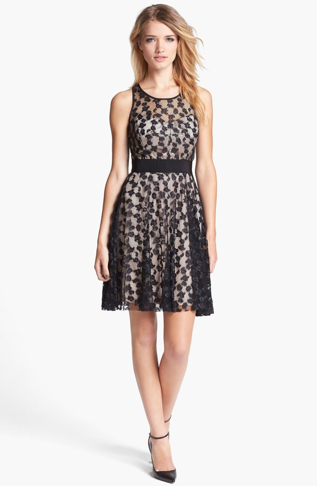 Lace Silk Fit & Flare Dress, Main, color, 280