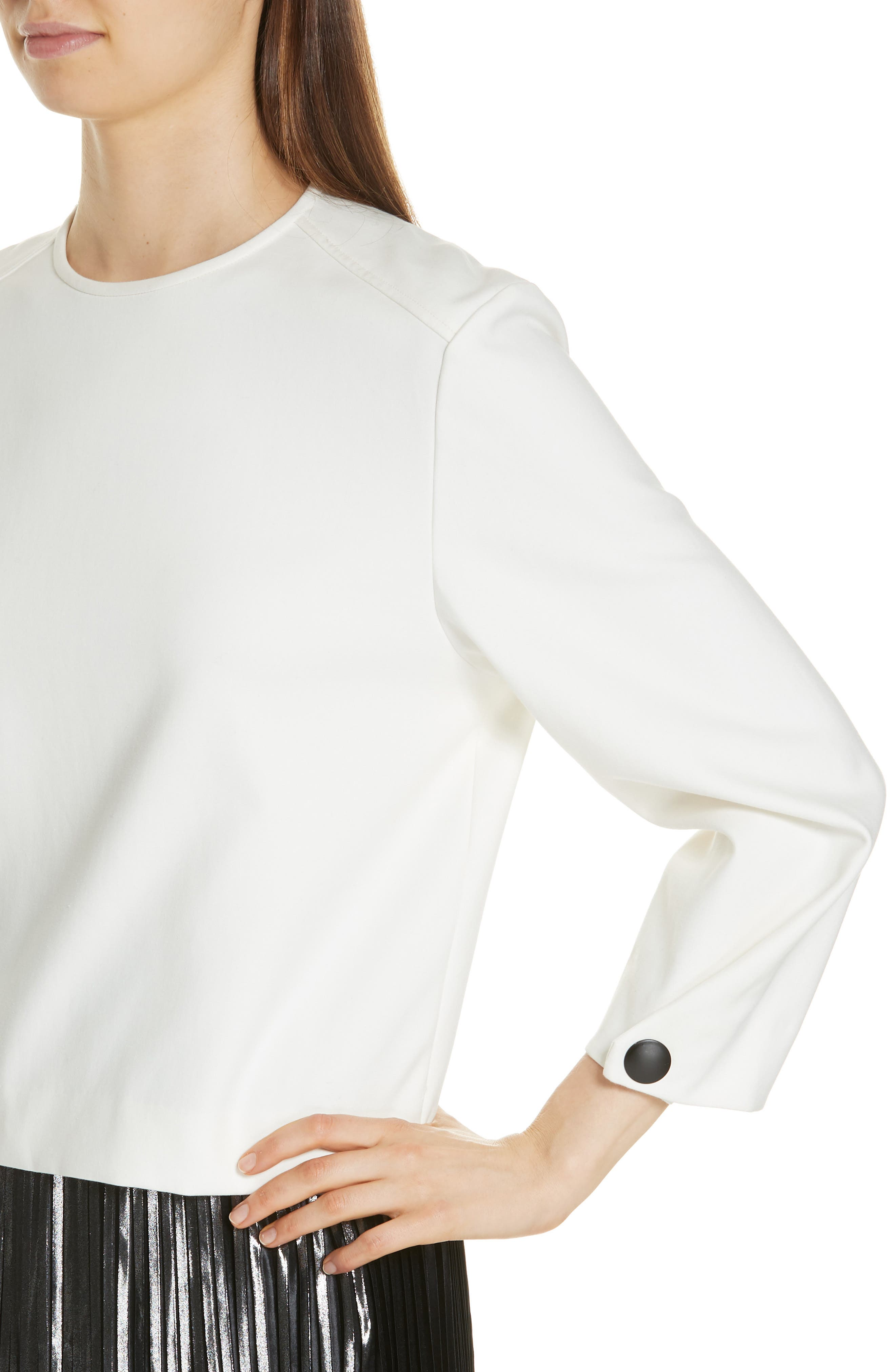 Welcome Stretch Cotton Top,                             Alternate thumbnail 4, color,                             ECRU