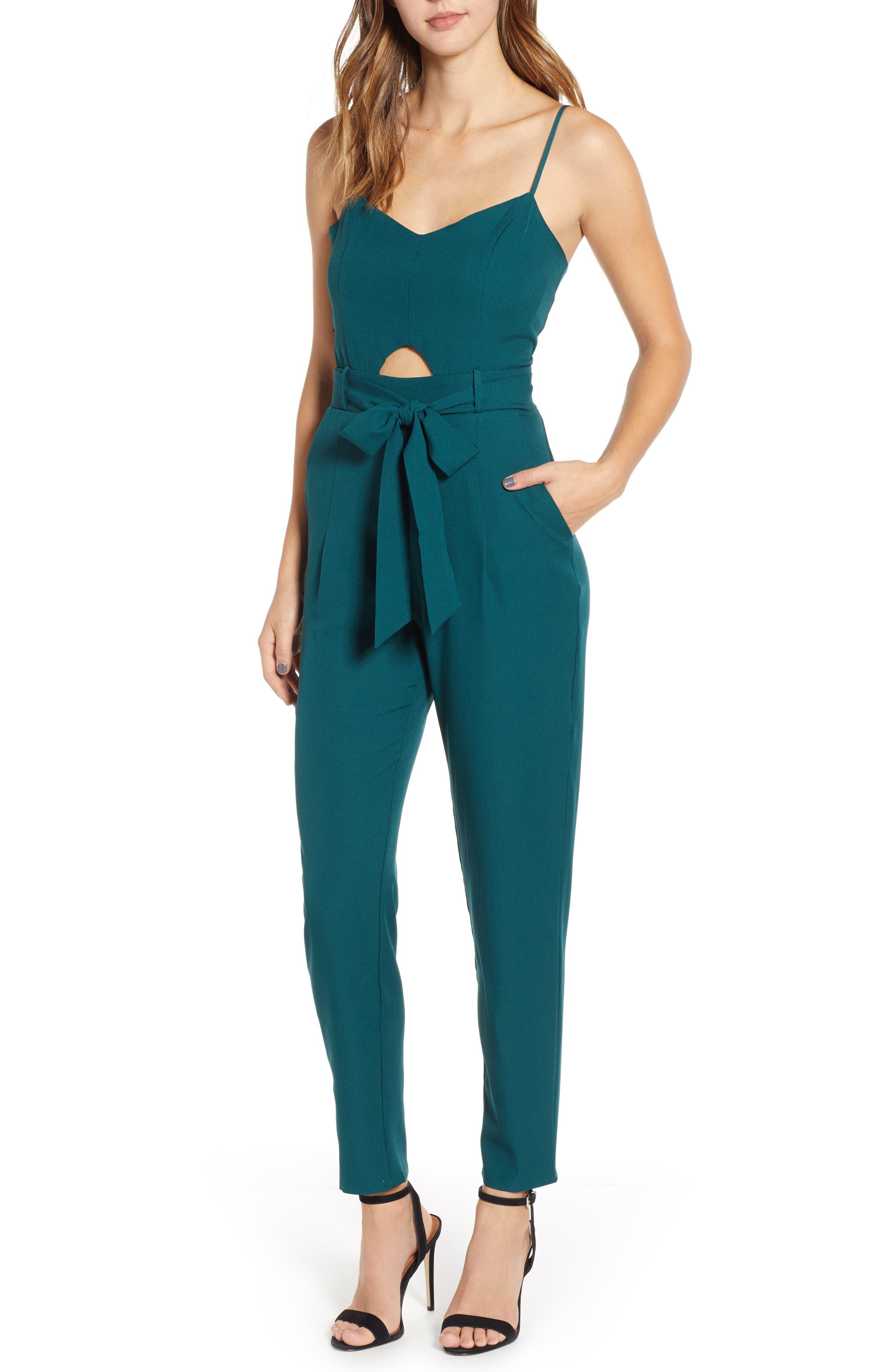 Keyhole Jumpsuit,                         Main,                         color, GREEN BUG