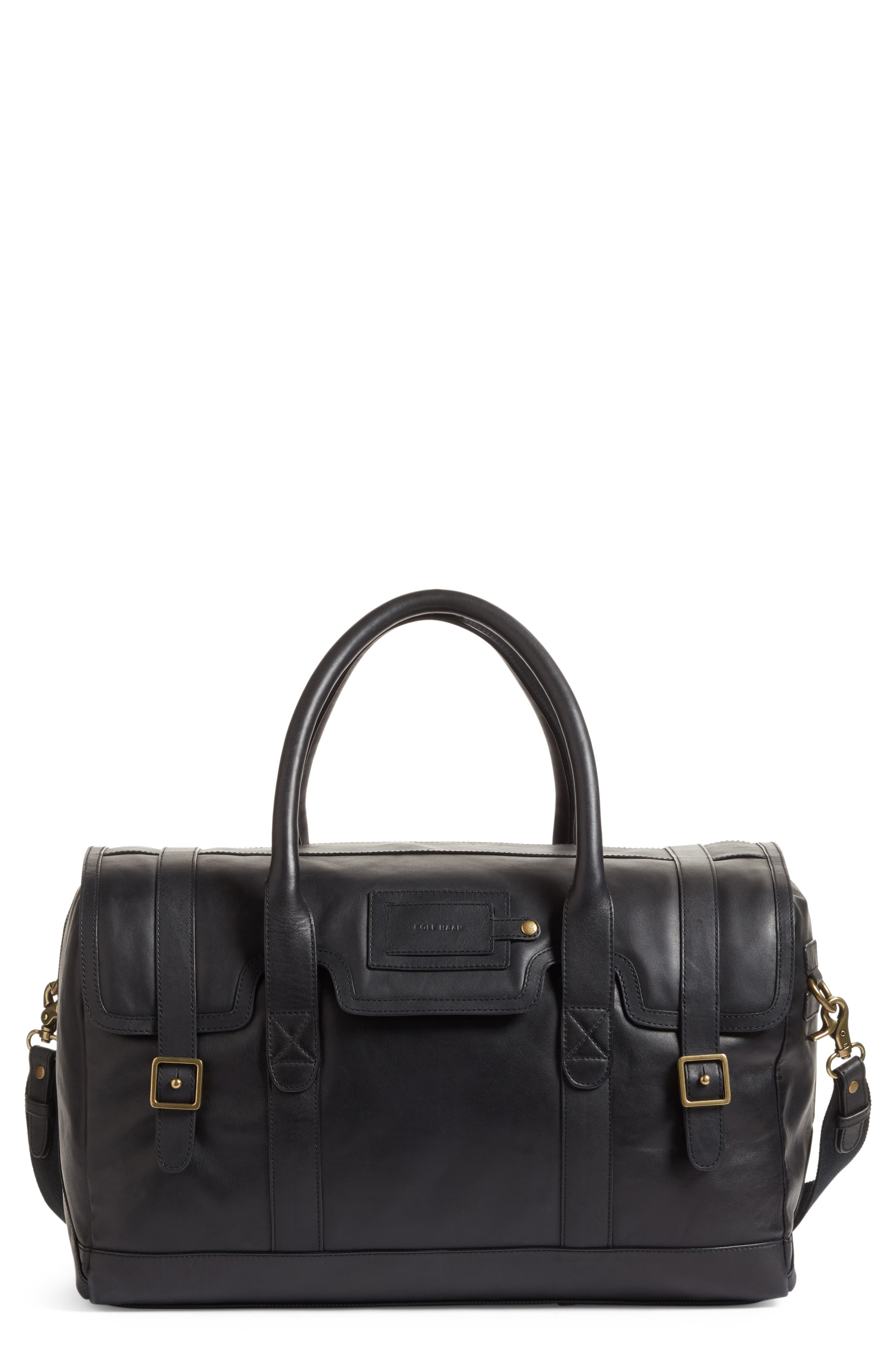 Leather Duffel Bag,                             Main thumbnail 1, color,