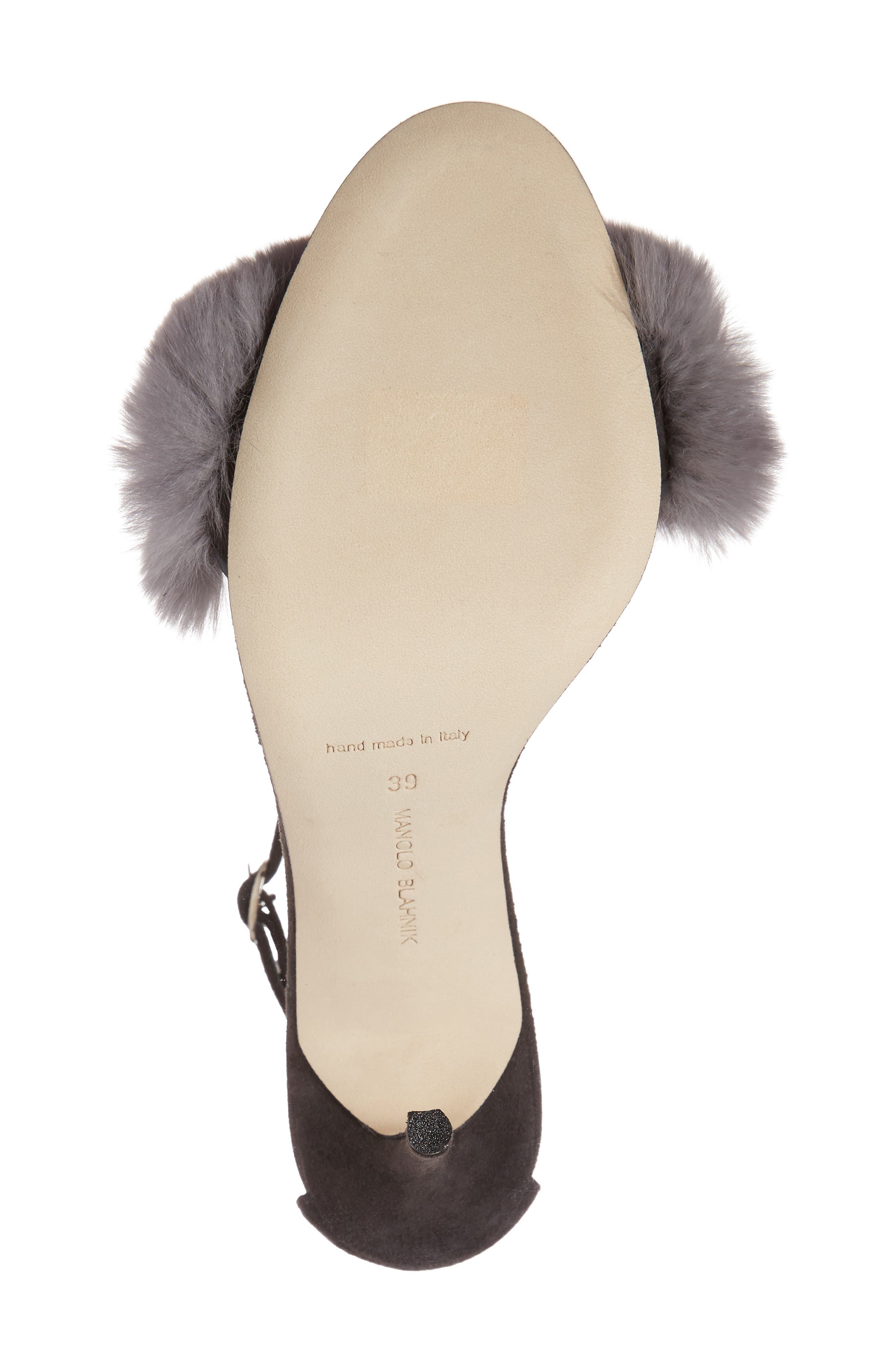 Mincha Genuine Rabbit Fur Sandal,                             Alternate thumbnail 6, color,                             035