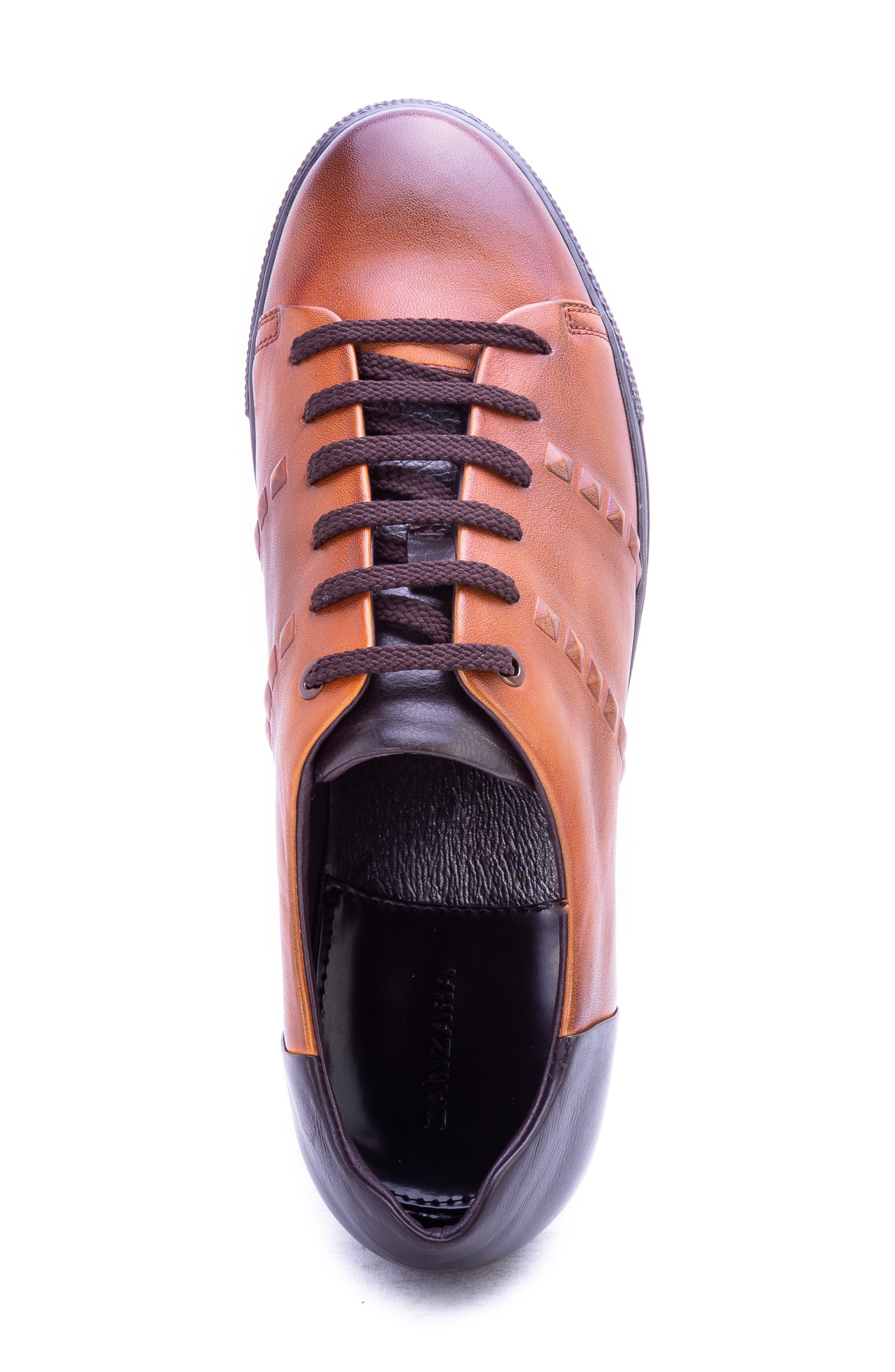Strozzi Studded Sneaker,                             Alternate thumbnail 5, color,                             COGNAC LEATHER