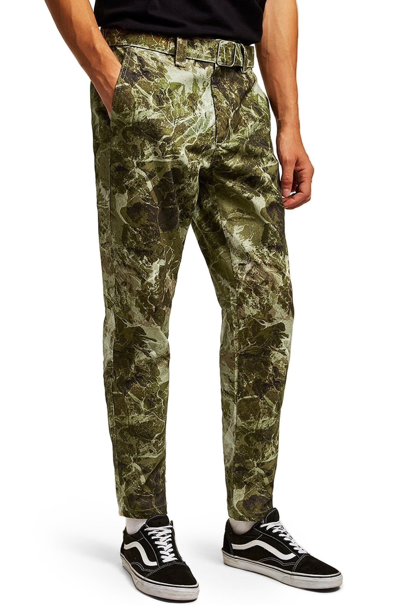 Sand Camouflage Tapered Trousers,                         Main,                         color, GREEN MULTI