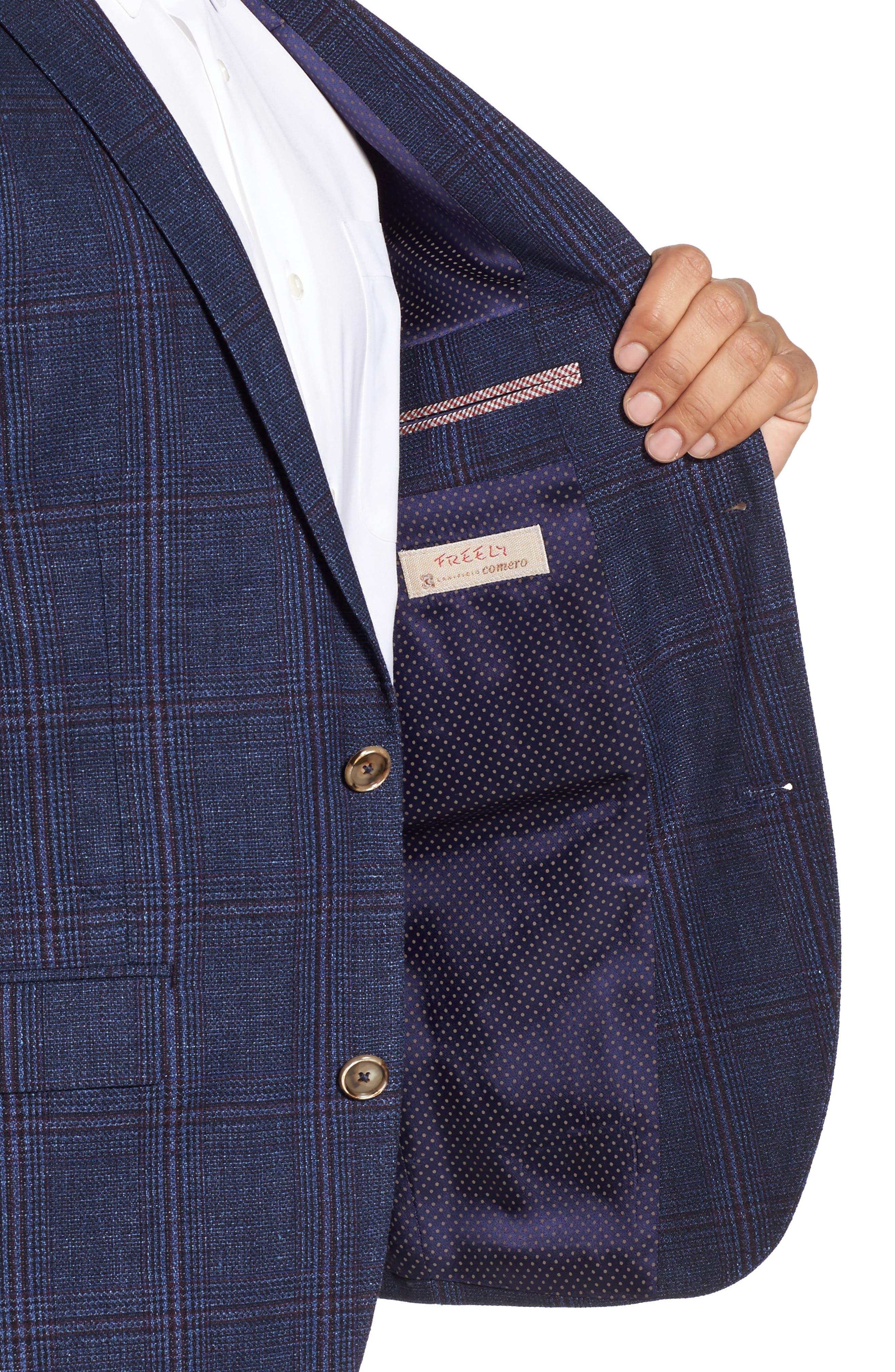 Trim Fit Plaid Linen & Wool Sport Coat,                             Alternate thumbnail 4, color,                             410