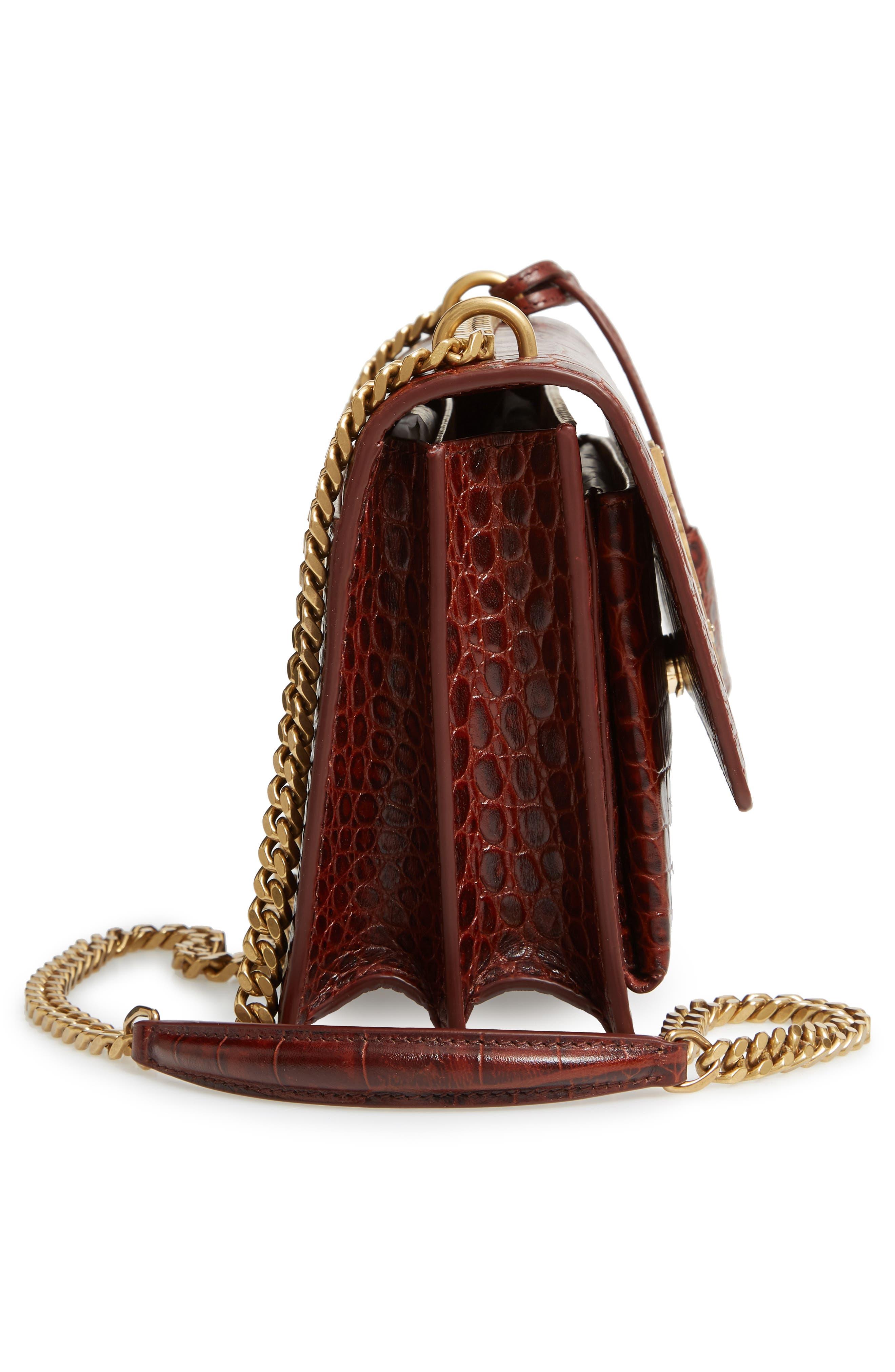 Medium Sunset Croc Embossed Leather Shoulder Bag,                             Alternate thumbnail 5, color,                             930