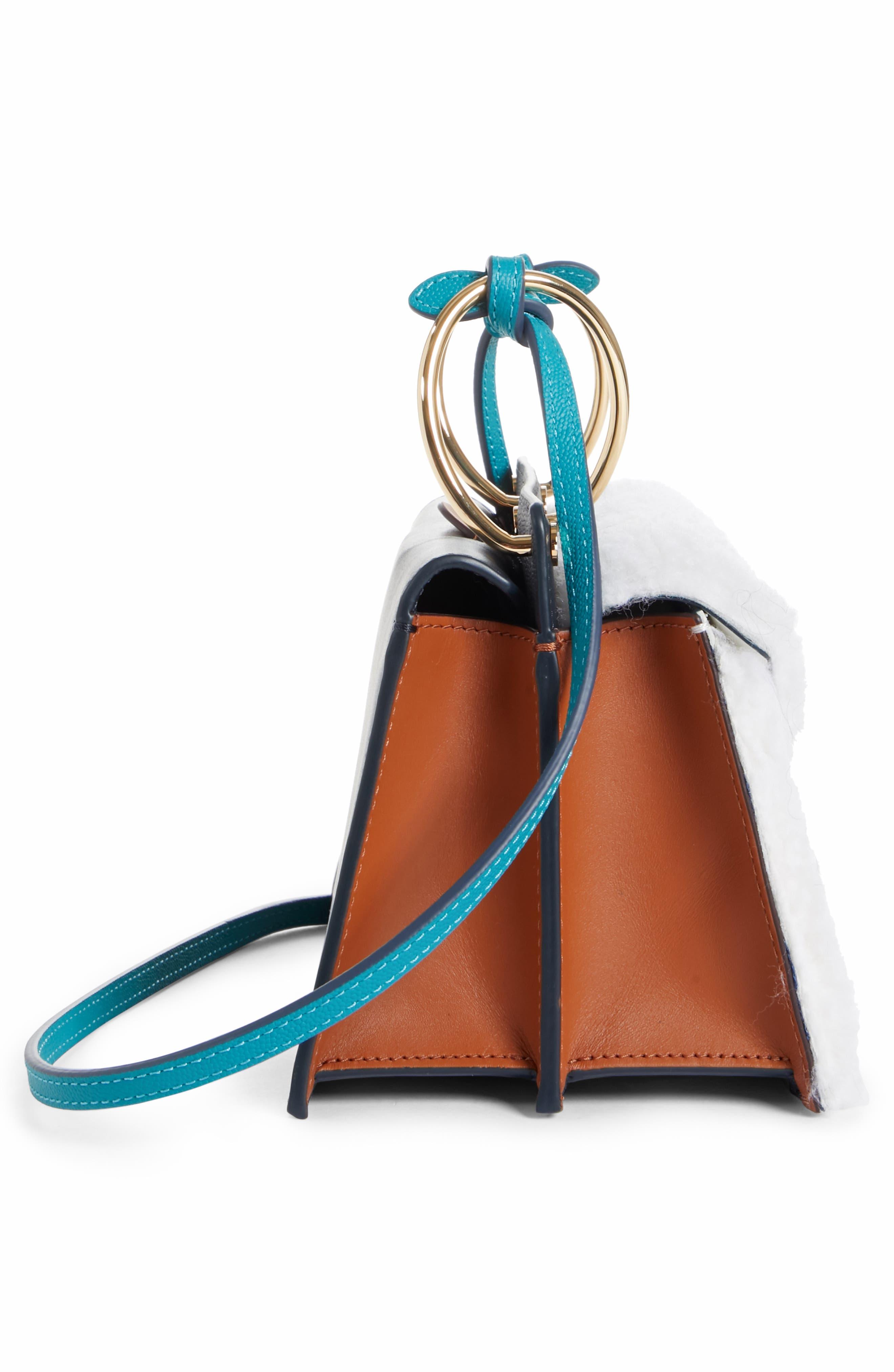 Mini Phoebe Leather Bag,                             Alternate thumbnail 5, color,                             CURLY SHEARLING WHITE-MARINE