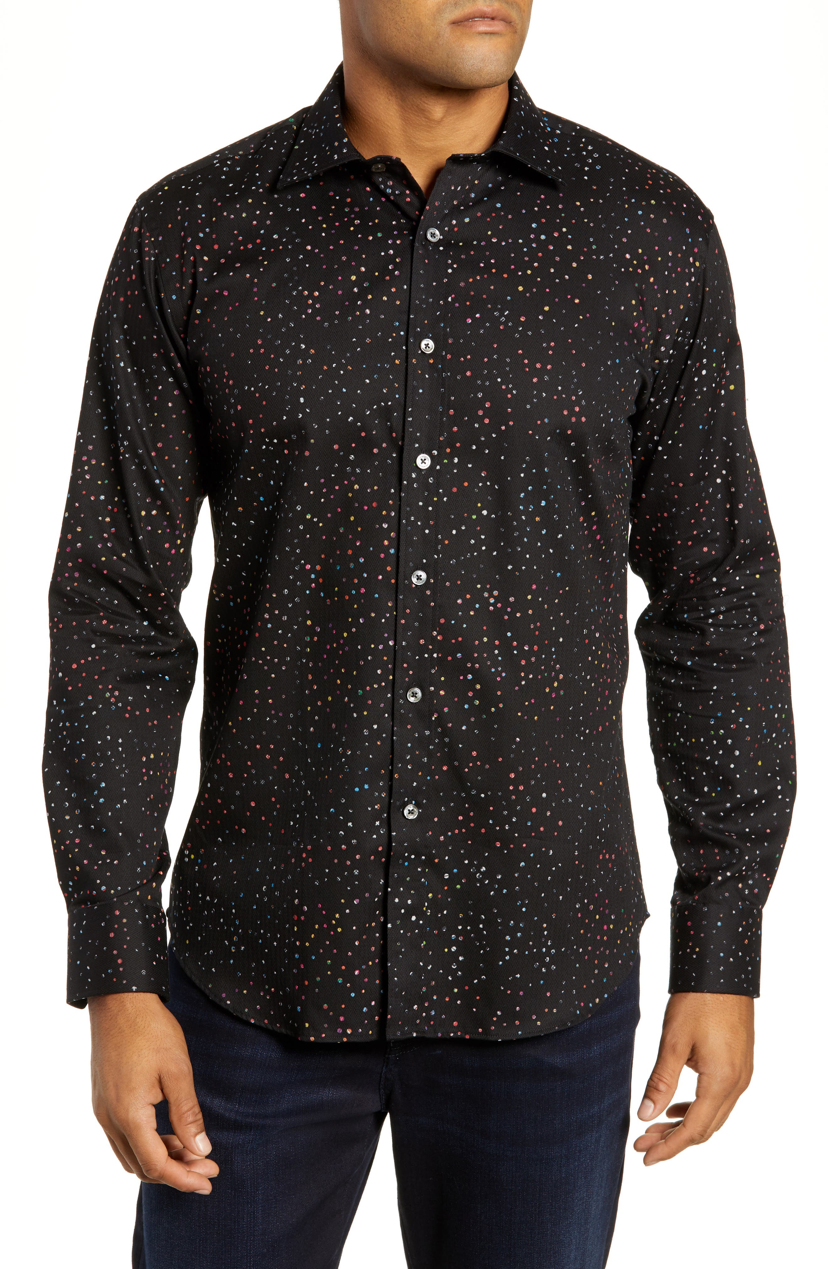 Shaped Fit Dot Sport Shirt,                         Main,                         color, BLACK